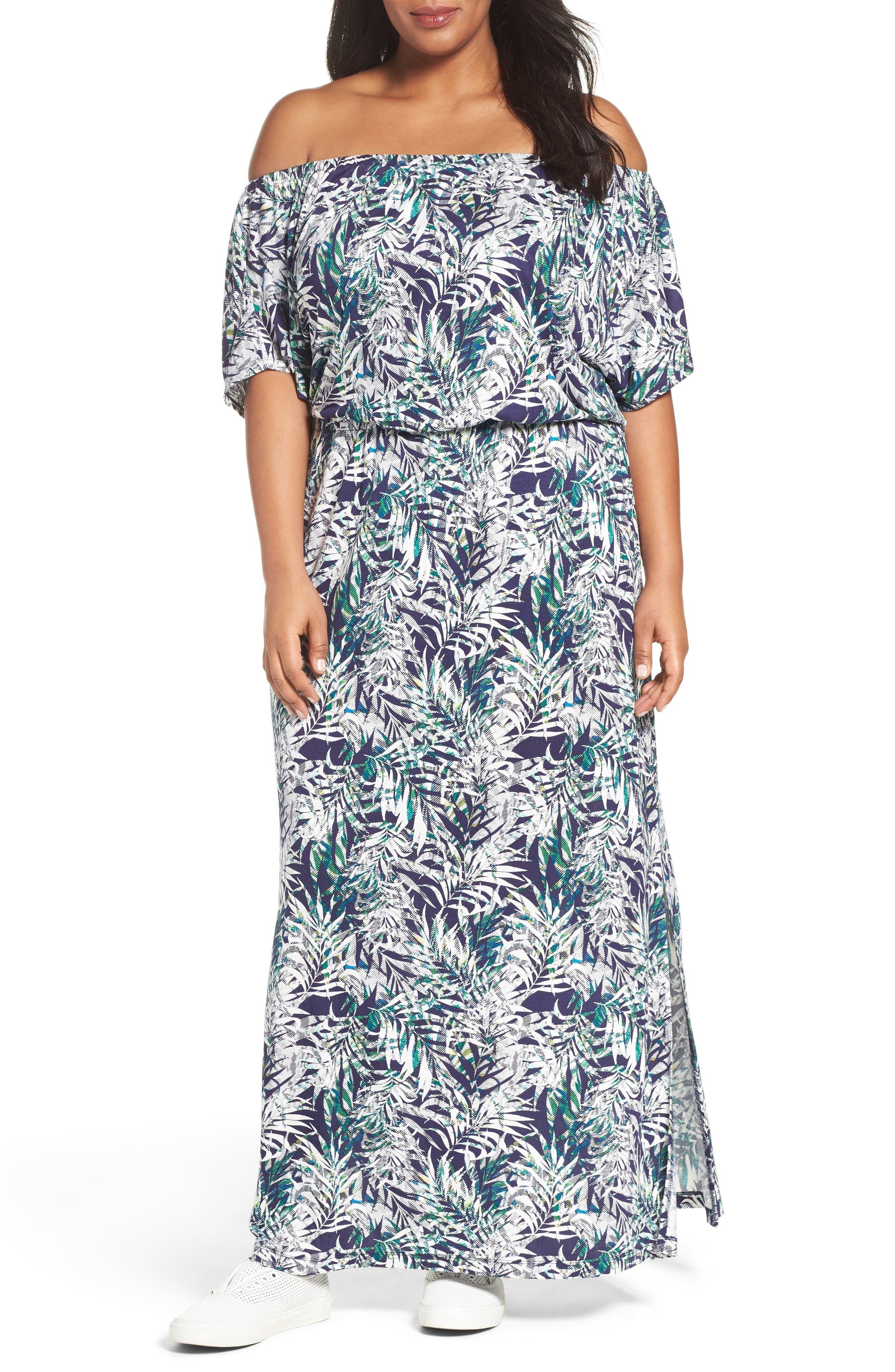 Sejour Off the Shoulder Maxi Dress (Plus Size)