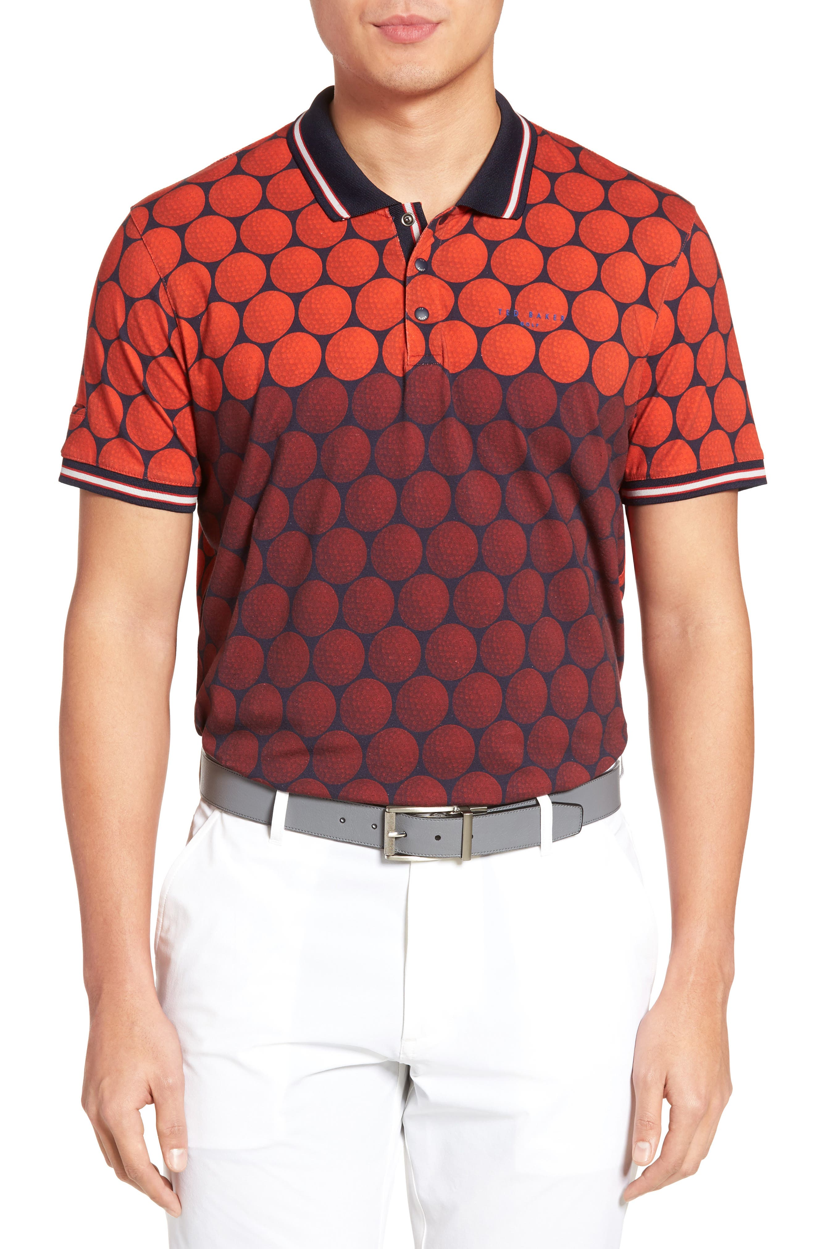 Birdy Print Golf Polo,                             Main thumbnail 1, color,                             Red