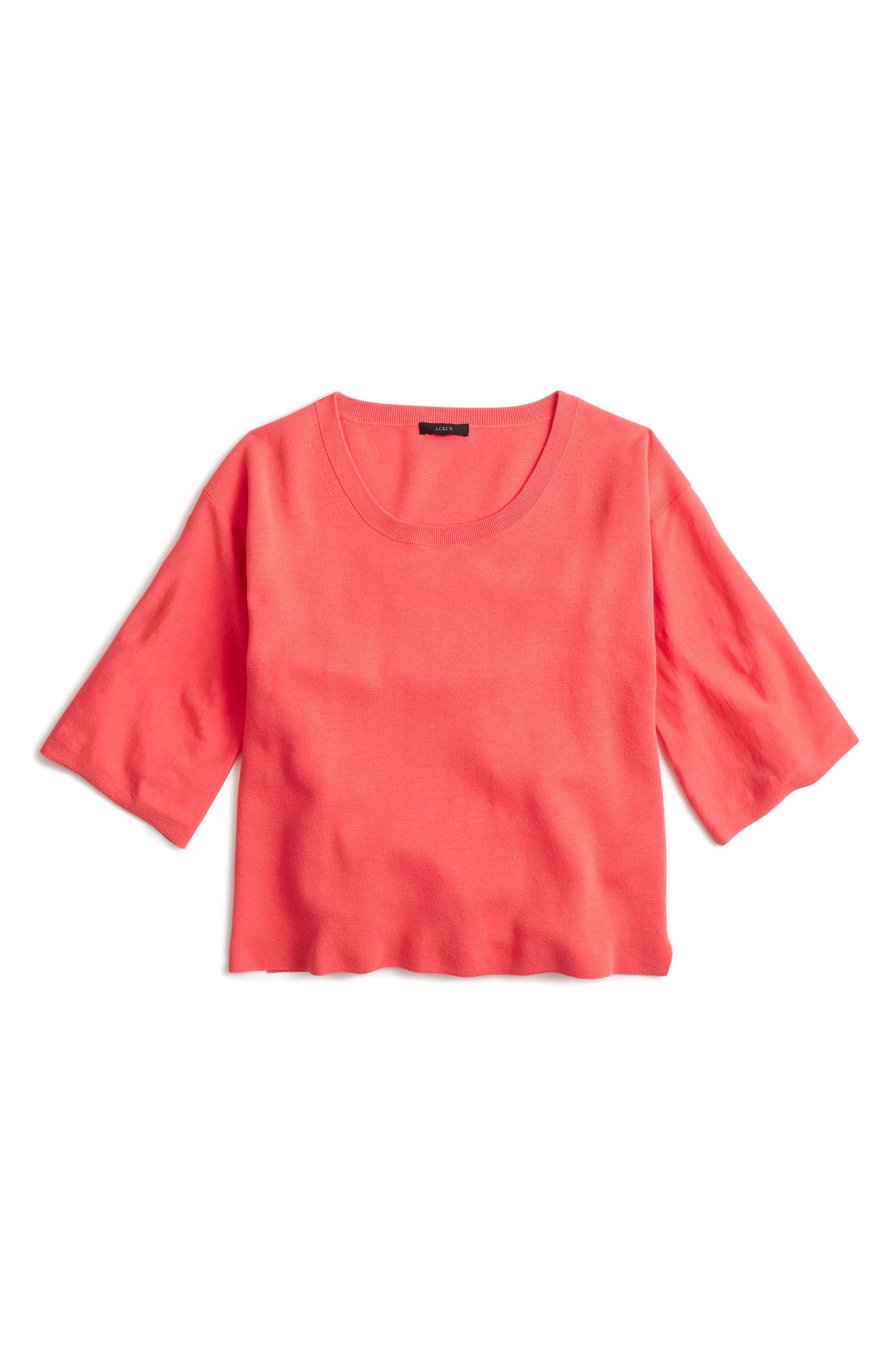 J.Crew Dramatic Sleeve Summerweight Cotton Sweater