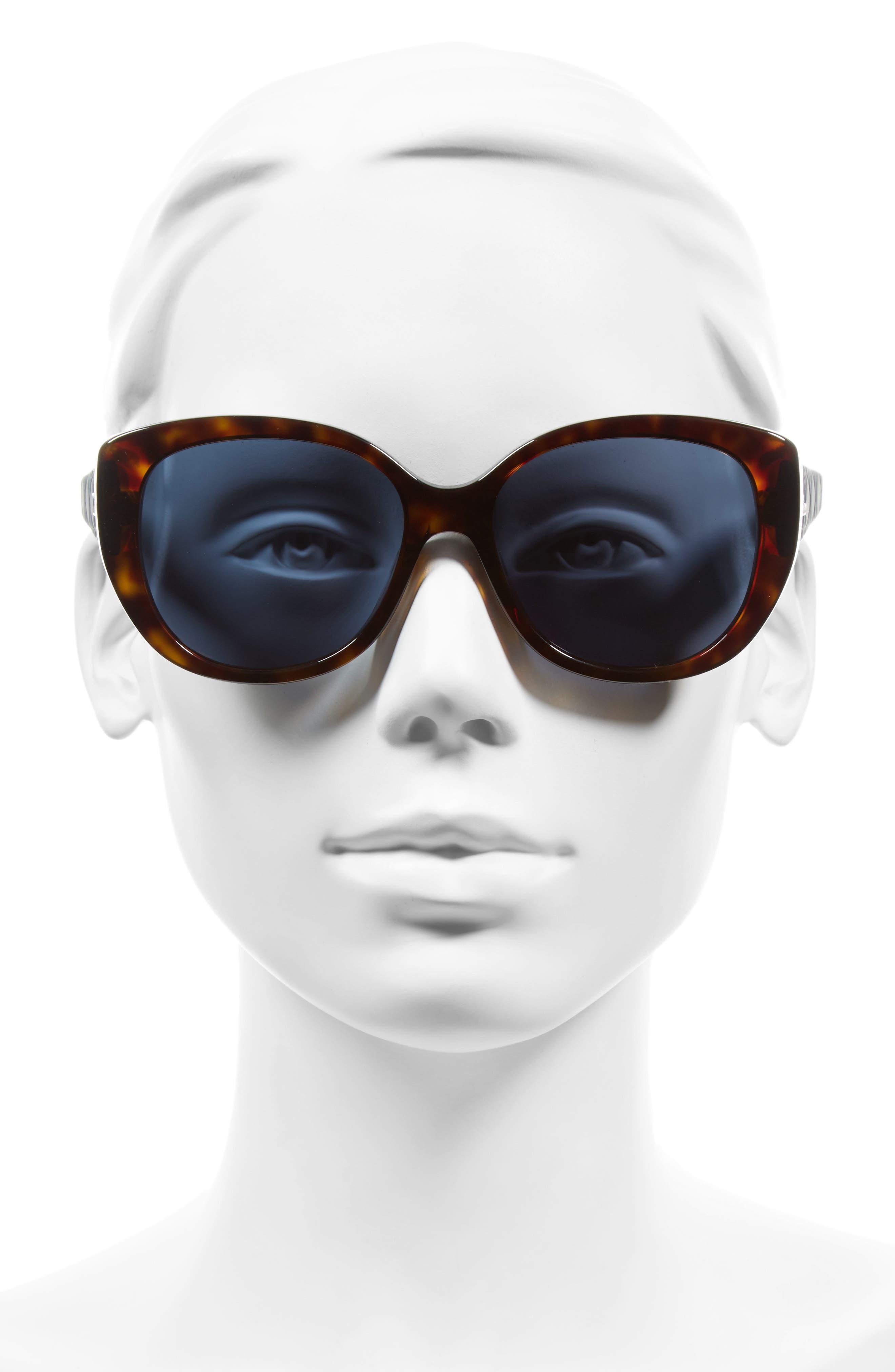 Lady 55mm Cat Eye Sunglasses,                             Alternate thumbnail 2, color,                             Havana/ Blue