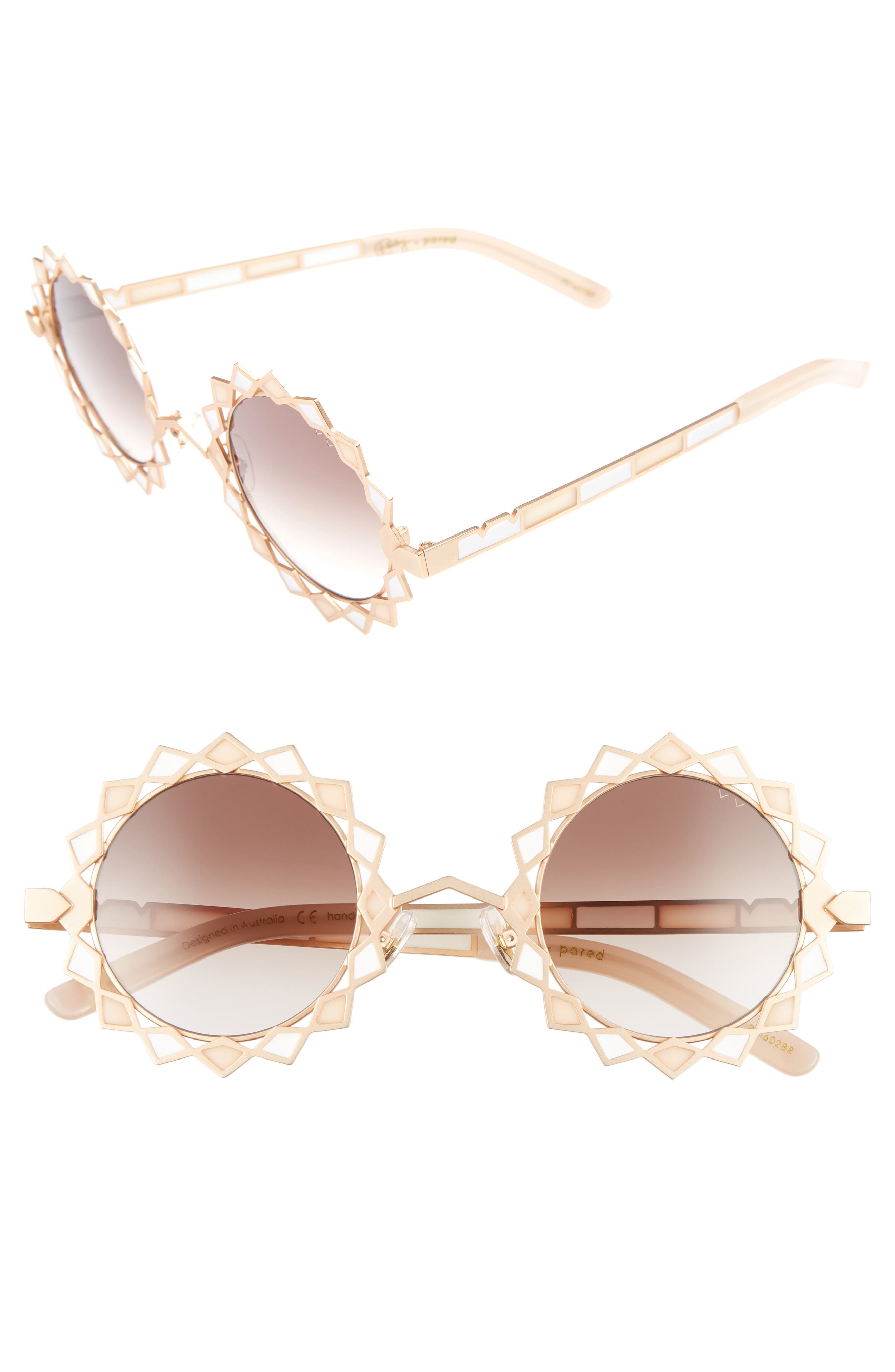Moon & Stars 44mm Round Retro Sunglasses,                             Main thumbnail 1, color,                             Rose Gold/ Blush Brown