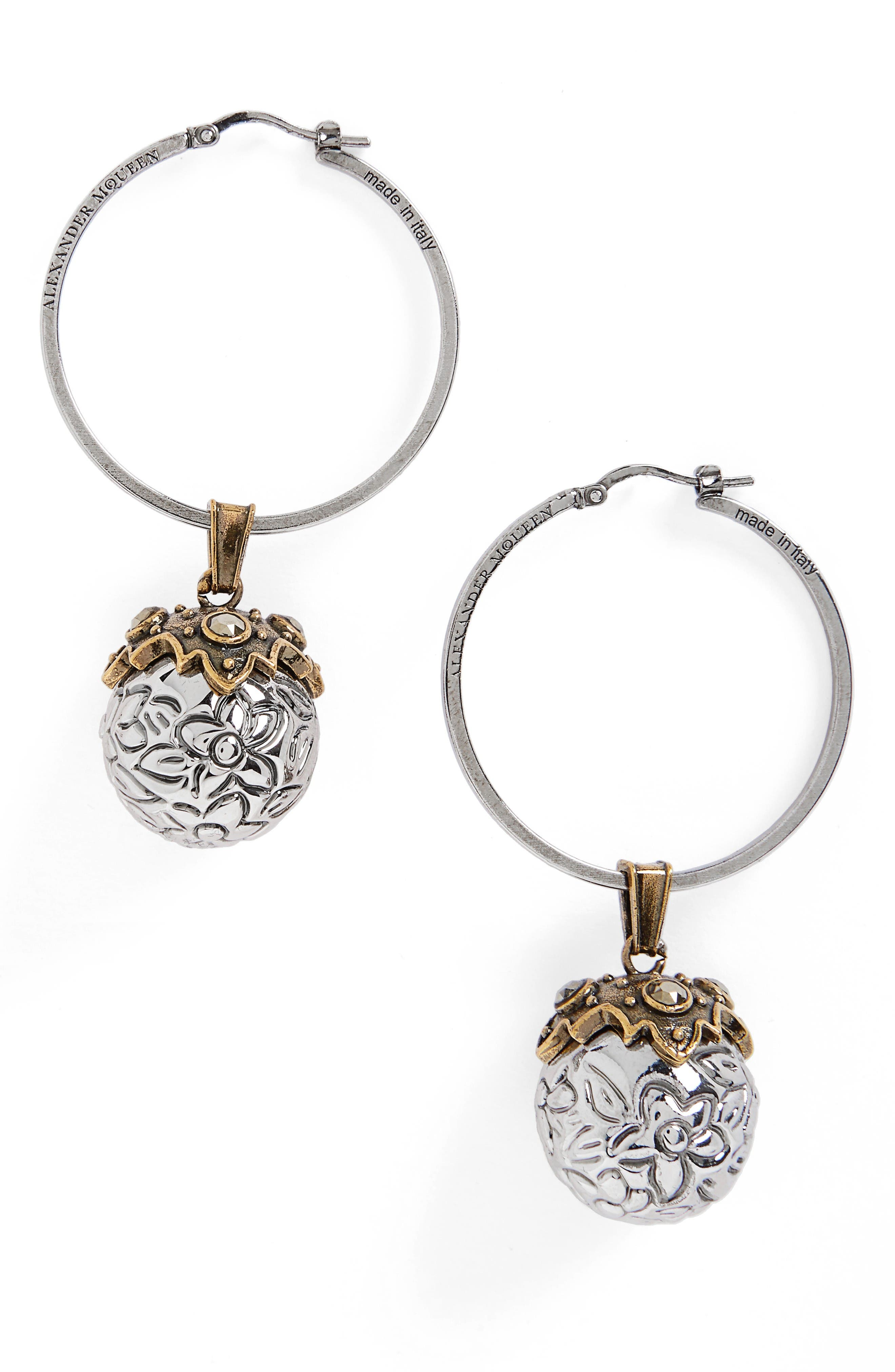 Metallic Sphere Earrings,                         Main,                         color, Silver
