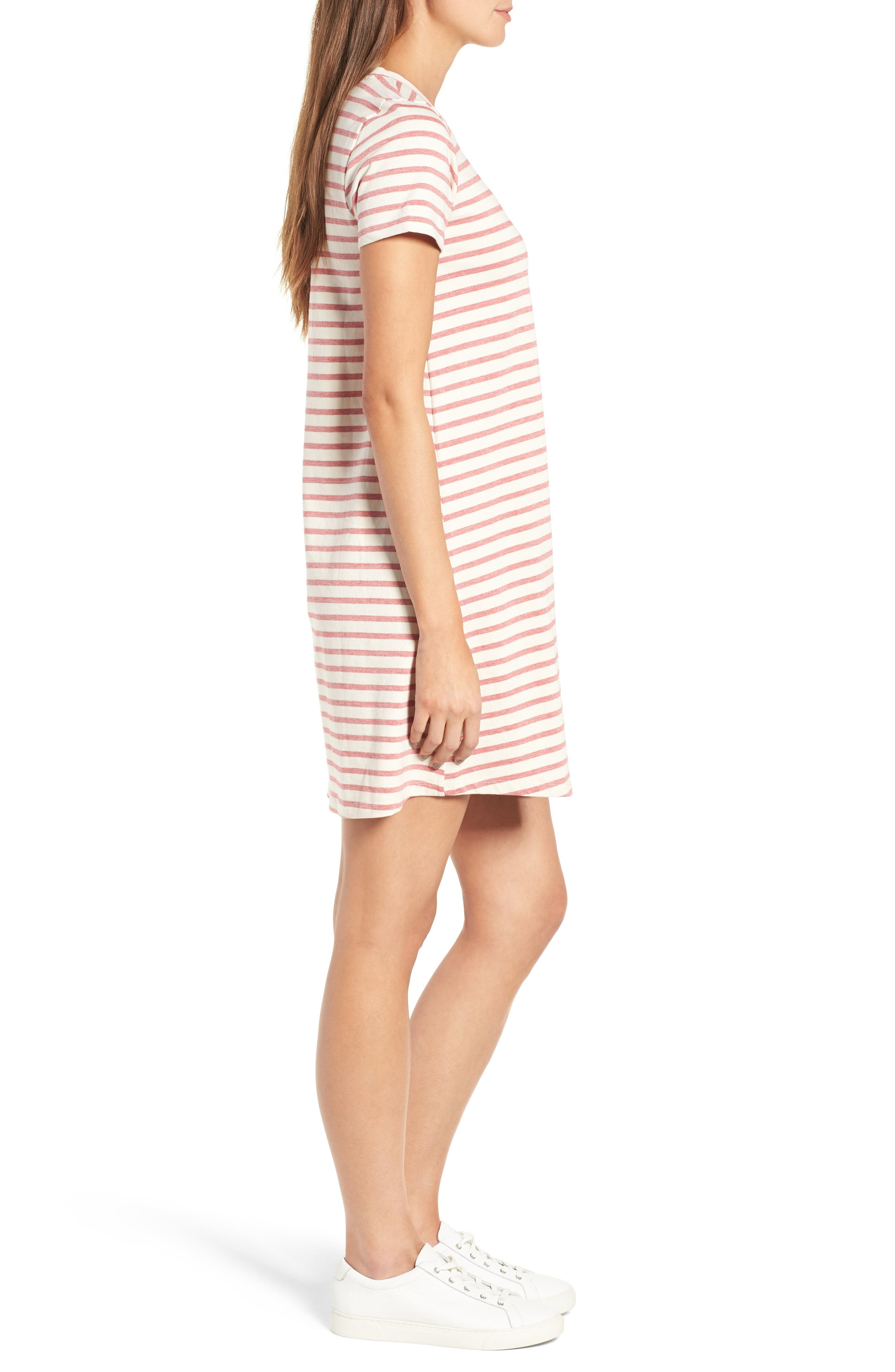 Retreat Stripe Cotton Shift Dress,                             Alternate thumbnail 3, color,                             Flame Red