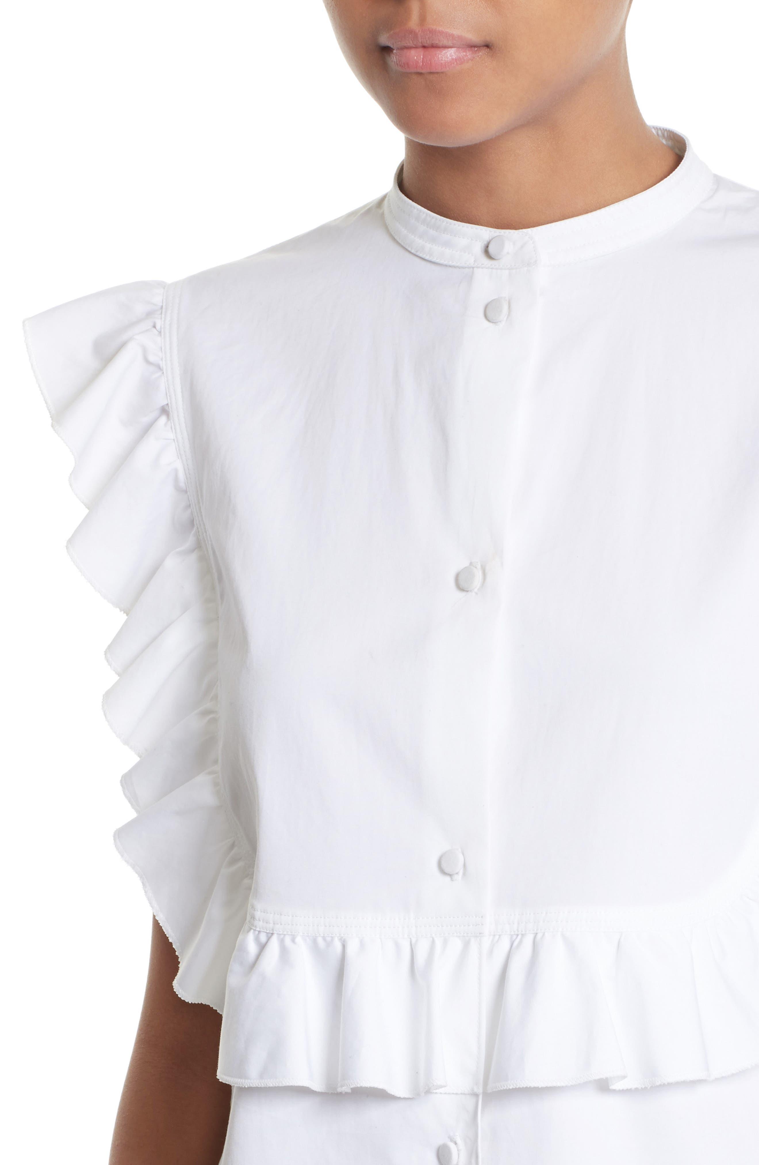 Alternate Image 5  - Helmut Lang Ruffle Bib Cotton Shirt
