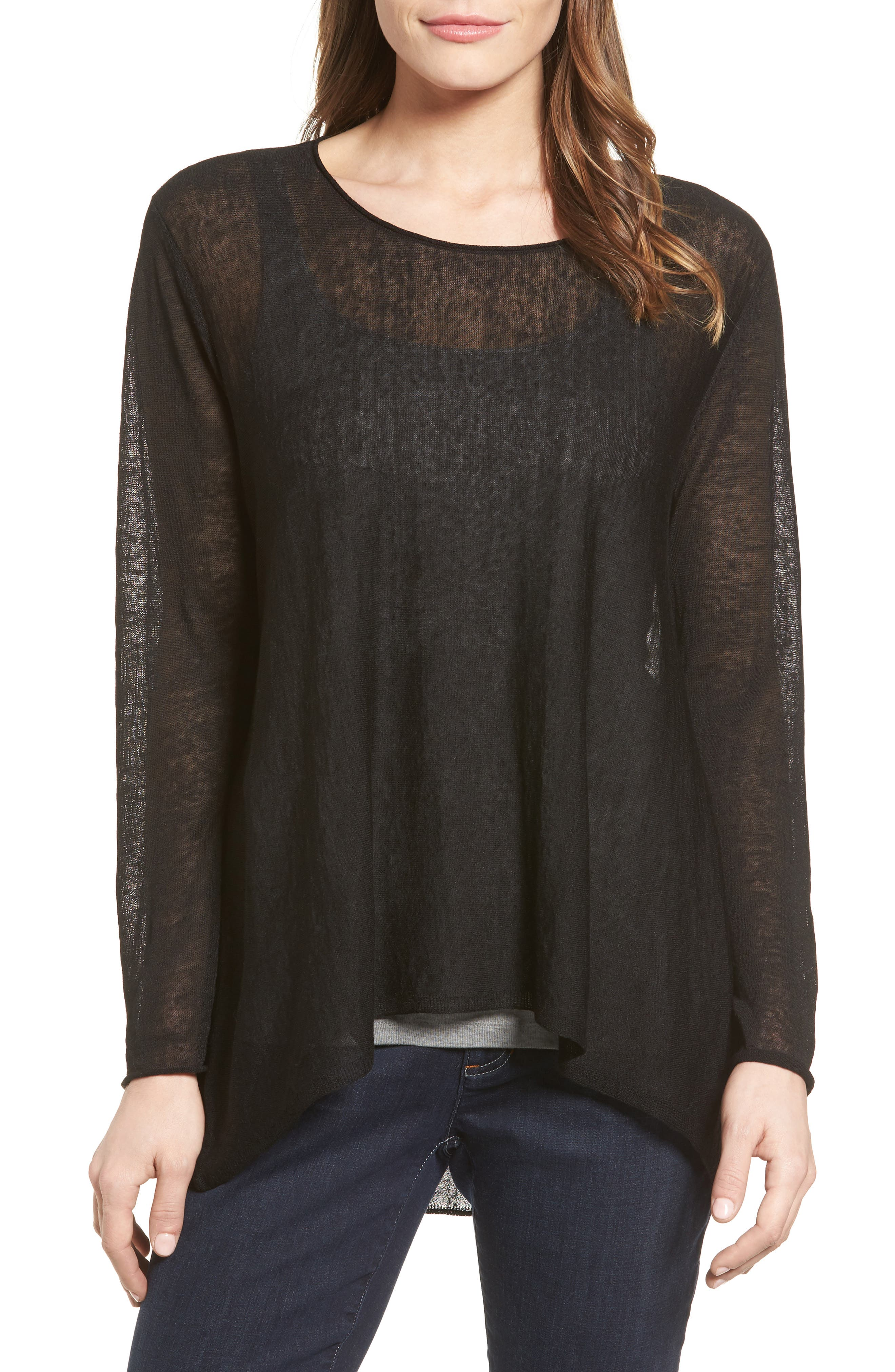 Organic Linen Blend Swing Sweater,                         Main,                         color, Black