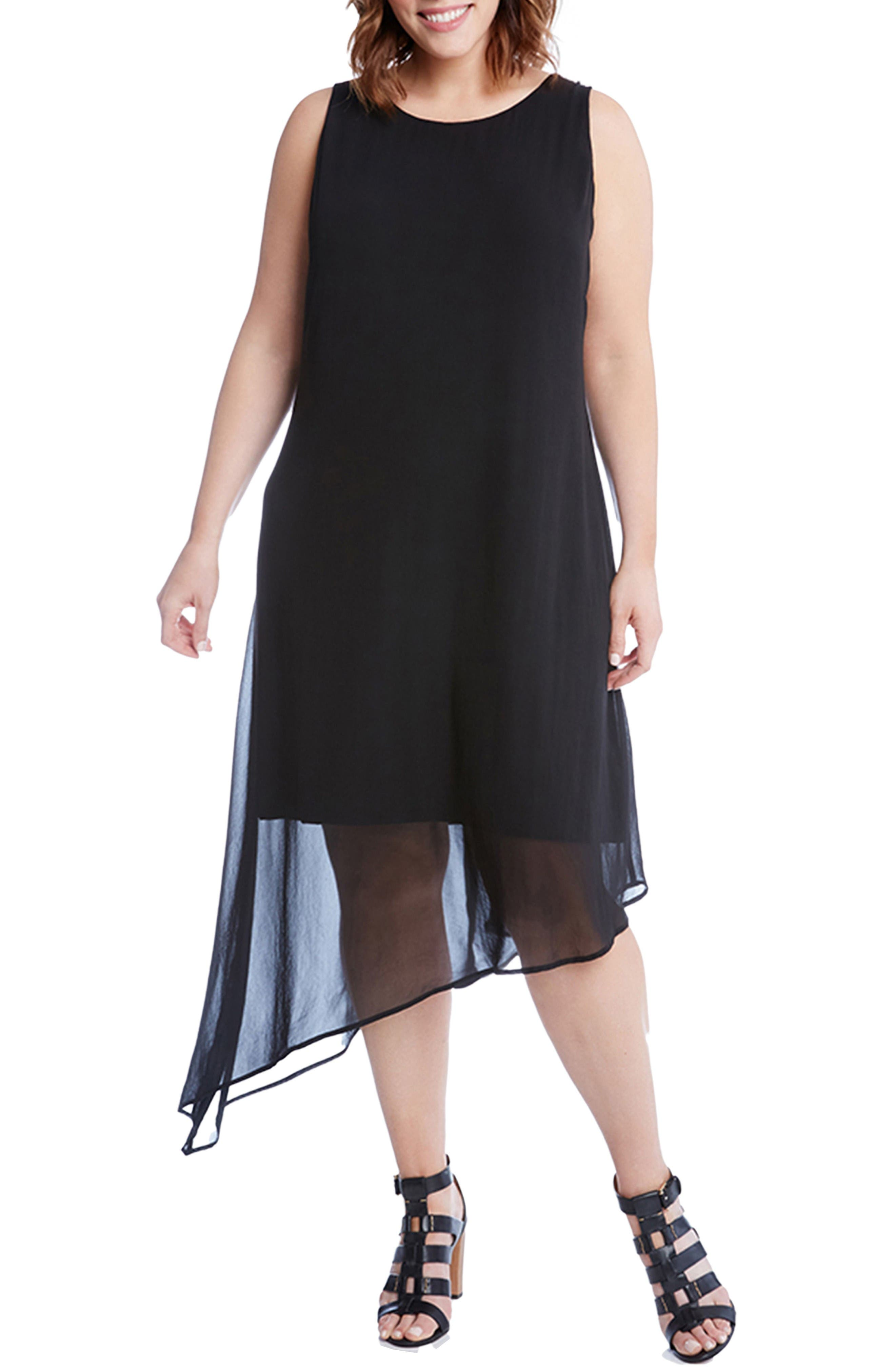 Alternate Image 1 Selected - Karen Kane Asymmetrical Overlay Shift Dress (Plus Size)