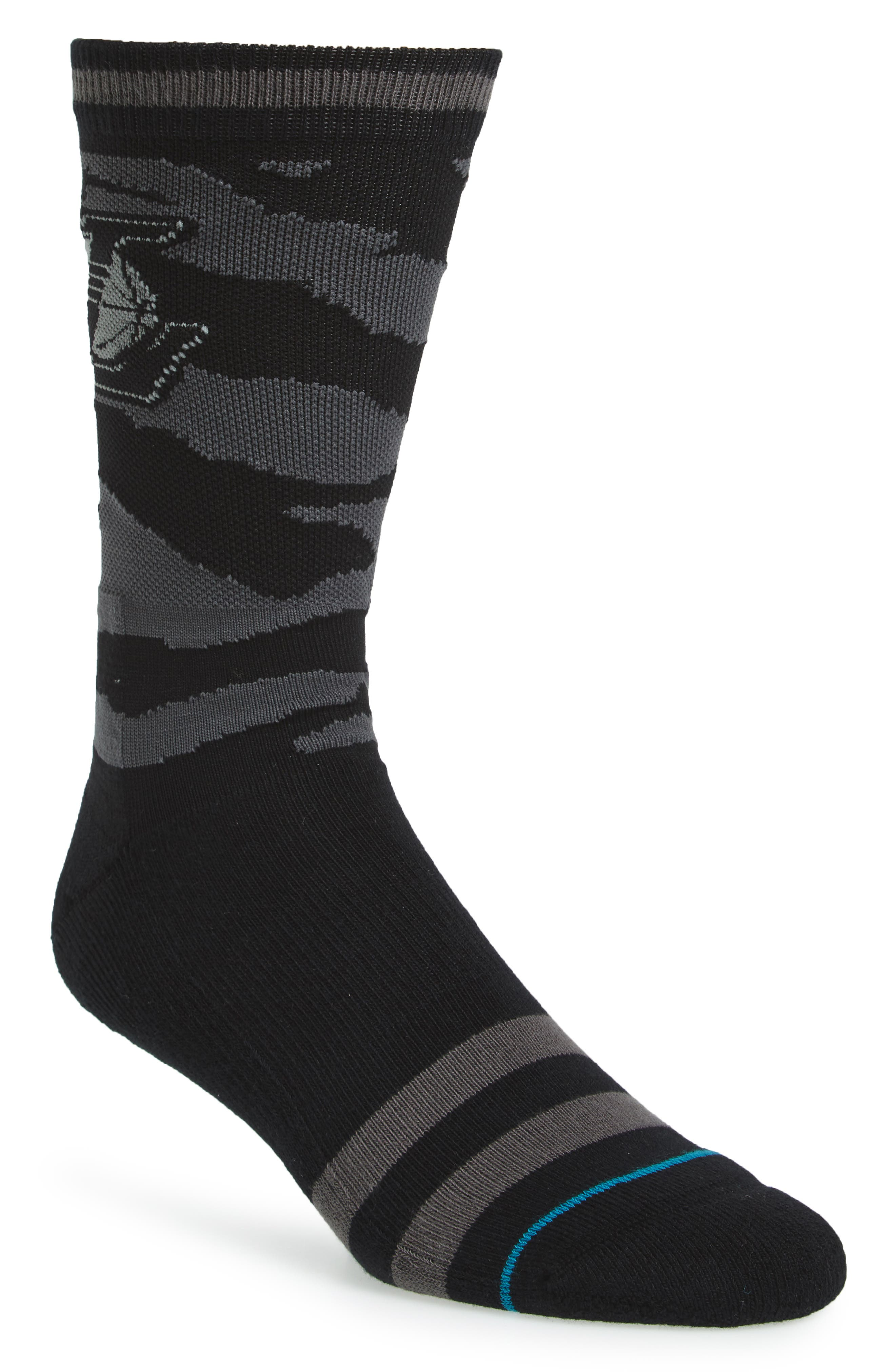 NBA Casual Nightfall Lakers Socks,                             Main thumbnail 1, color,                             Black