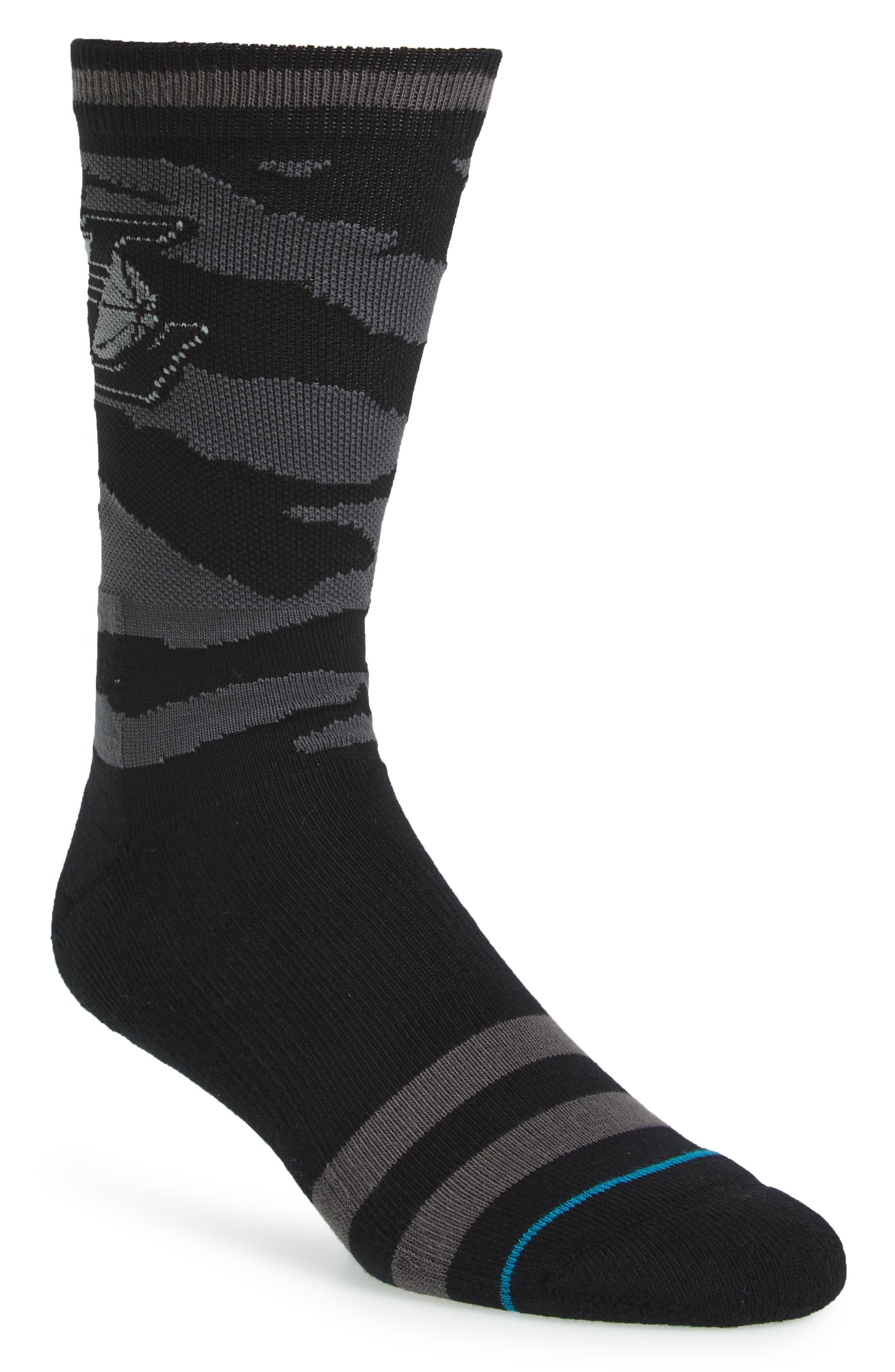 NBA Casual Nightfall Lakers Socks,                         Main,                         color, Black