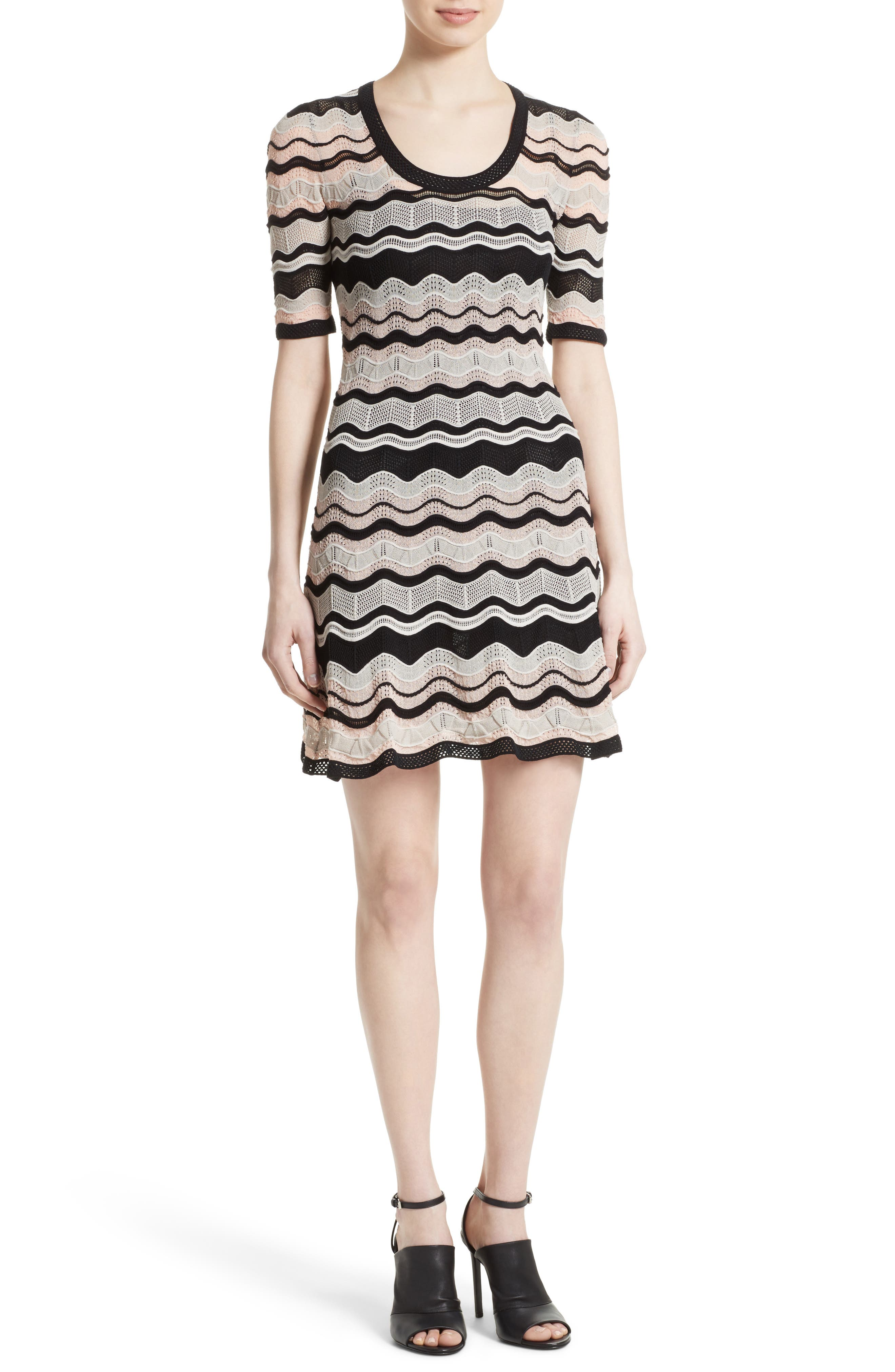 Ripple Ribbon Fit & Flare Dress,                         Main,                         color, Blush