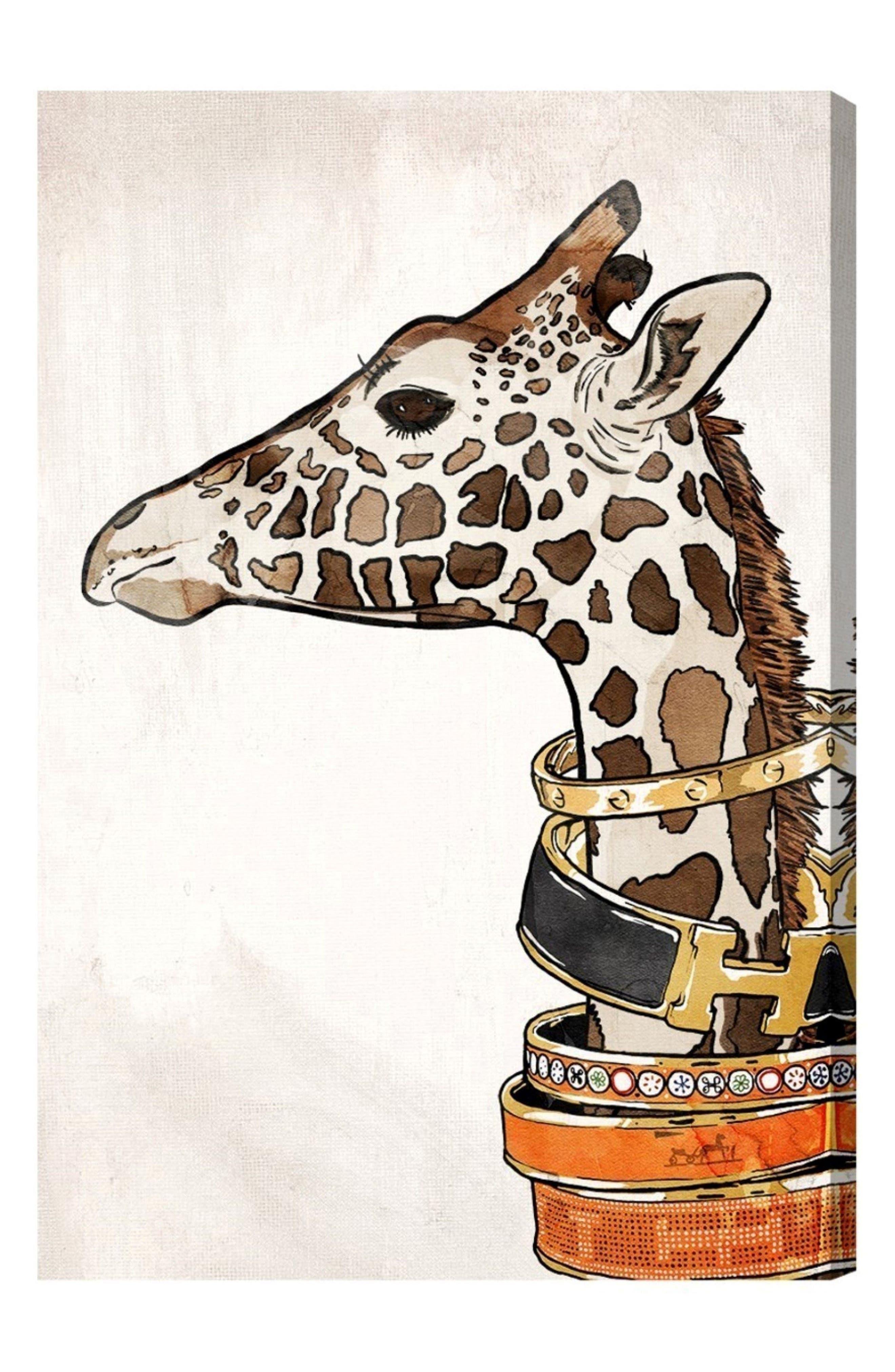 Luxurious Giraffe Canvas Wall Art,                         Main,                         color, White