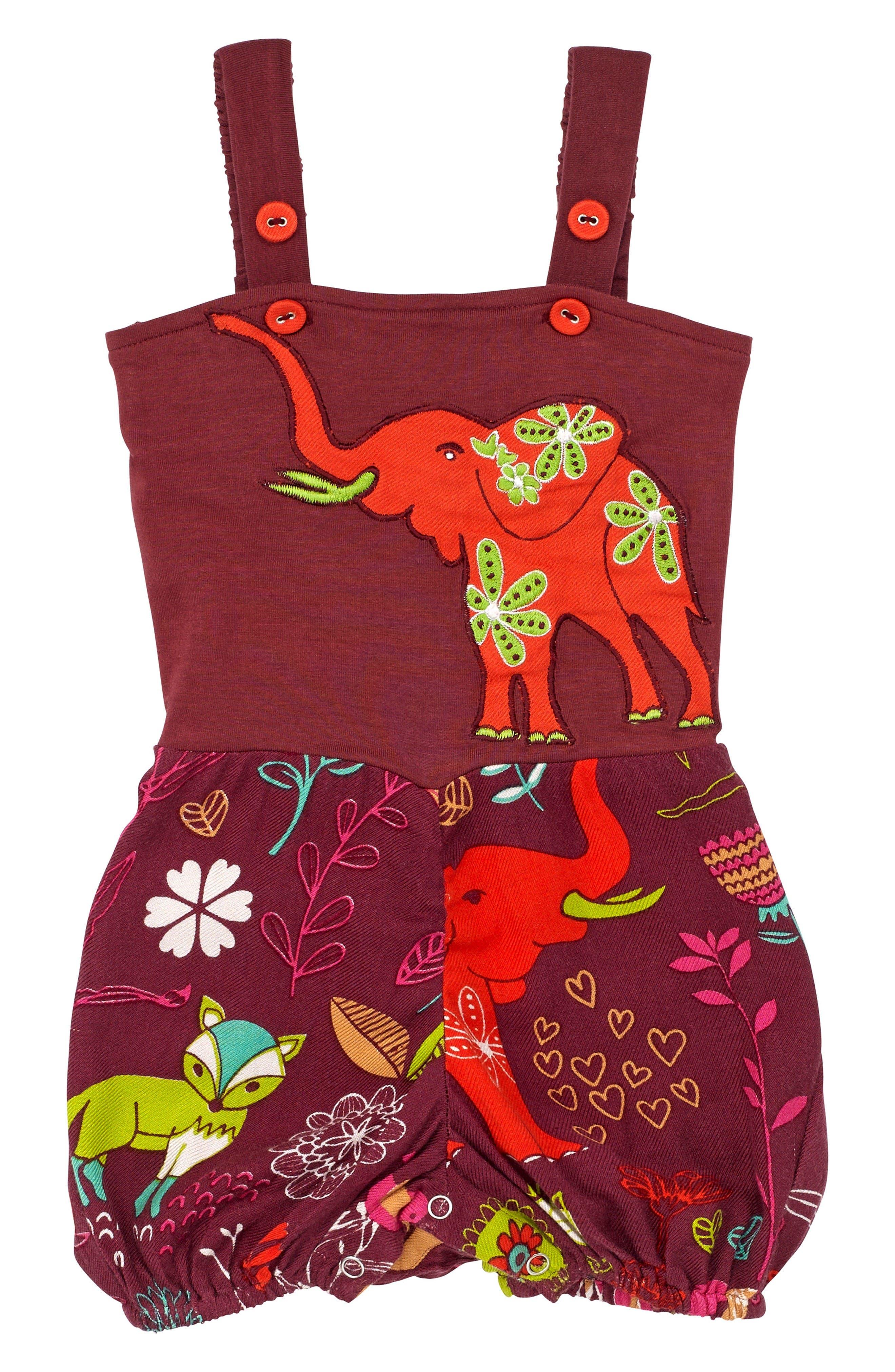 Elephant Rubble Romper,                         Main,                         color, Burgundy