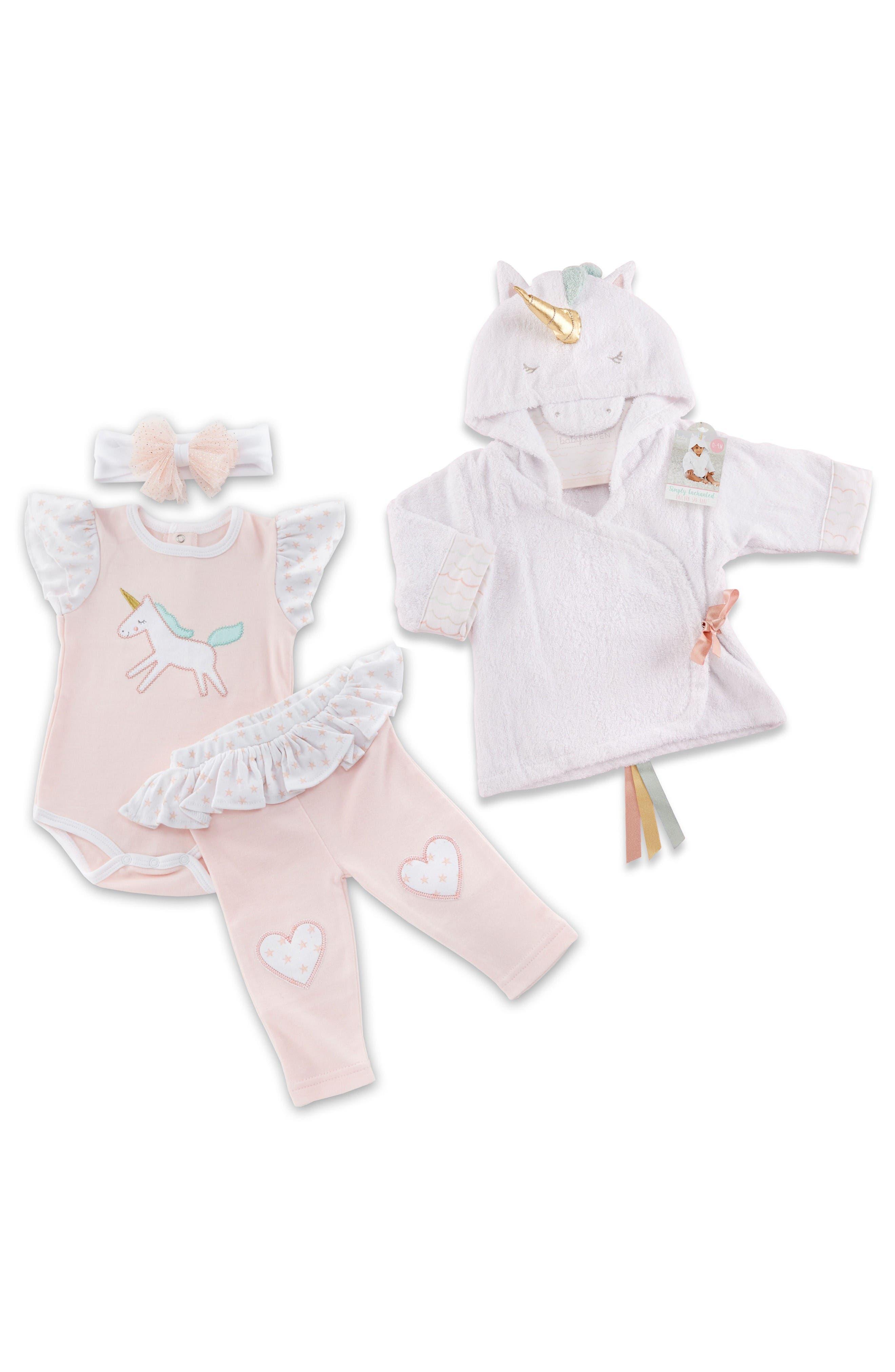 Main Image - Baby Aspen Simply Enchanted Unicorn Spa 4-Piece Gift Set (Baby Girls)