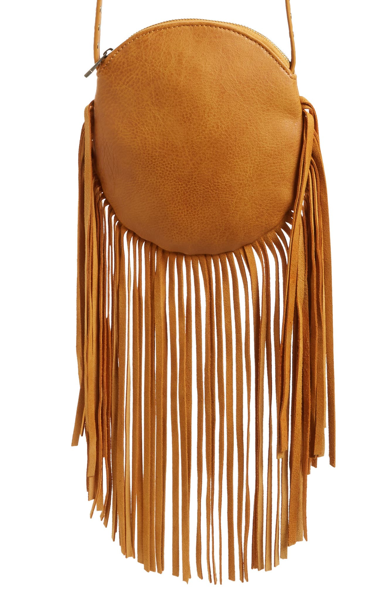 Main Image - Street Level Fringe Faux Leather Round Crossbody Bag