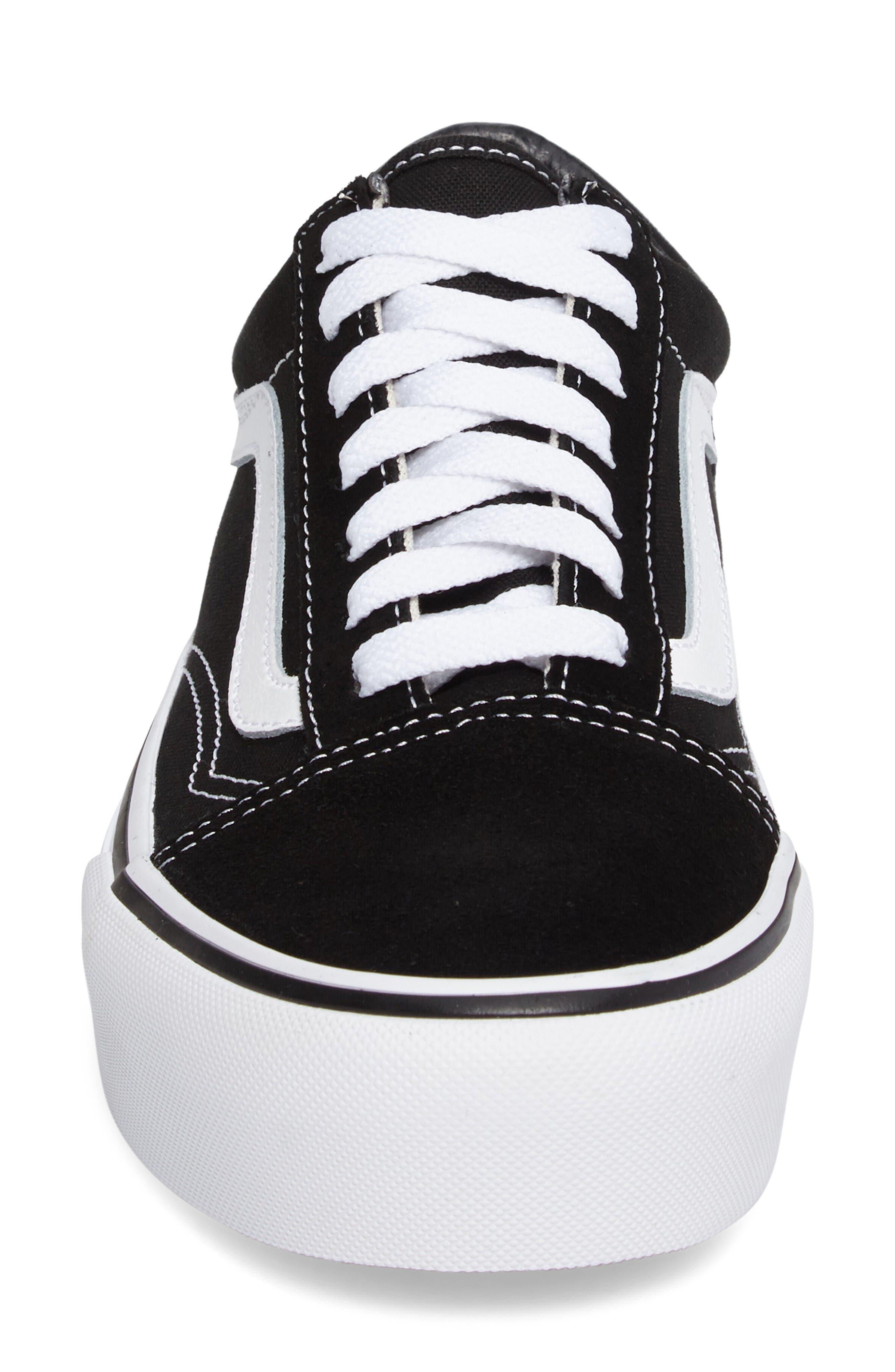 Old Skool Platform Sneaker,                             Alternate thumbnail 4, color,                             Black/ White