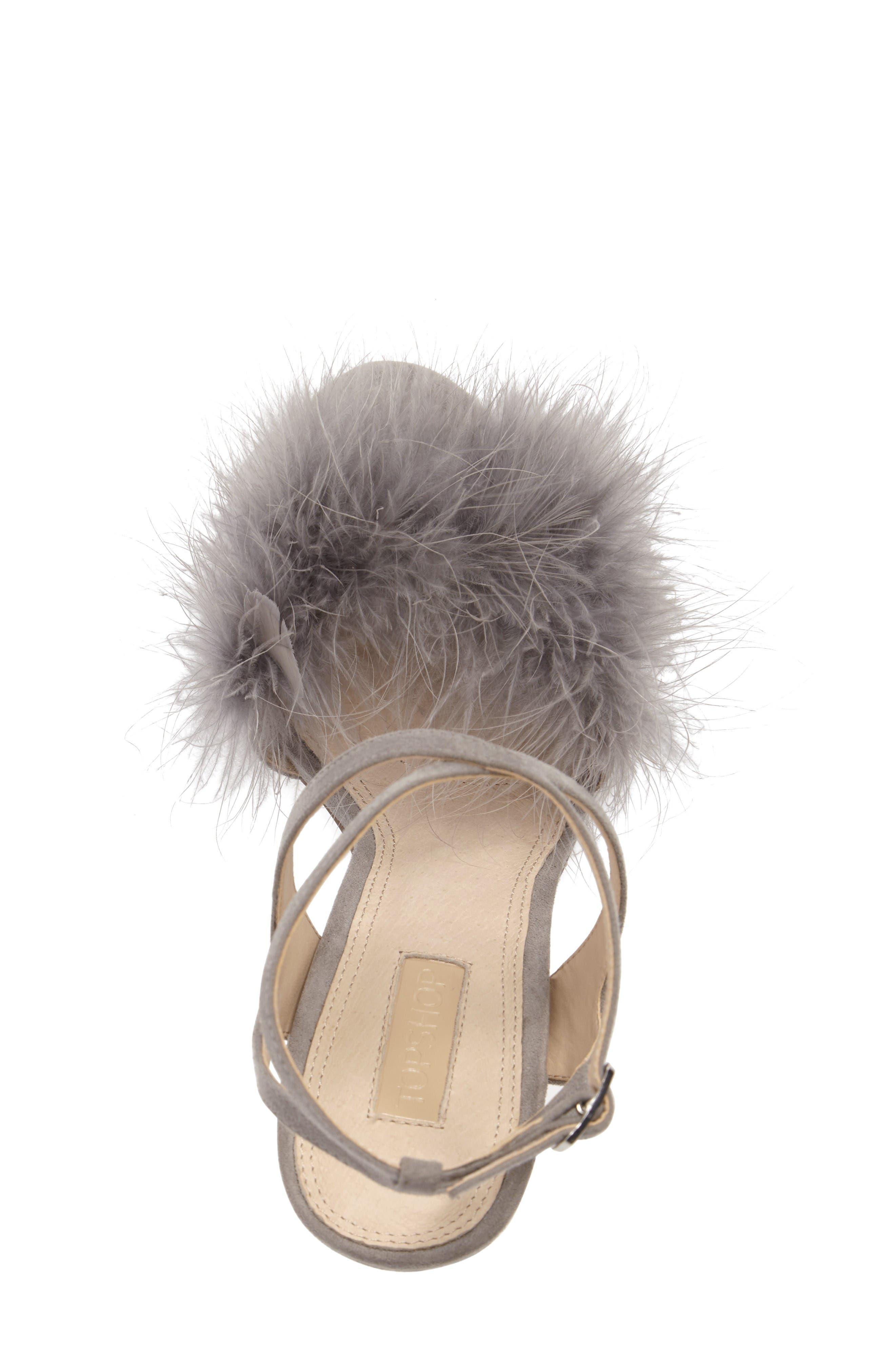 Reine Feathered Sandal,                             Alternate thumbnail 5, color,                             Grey