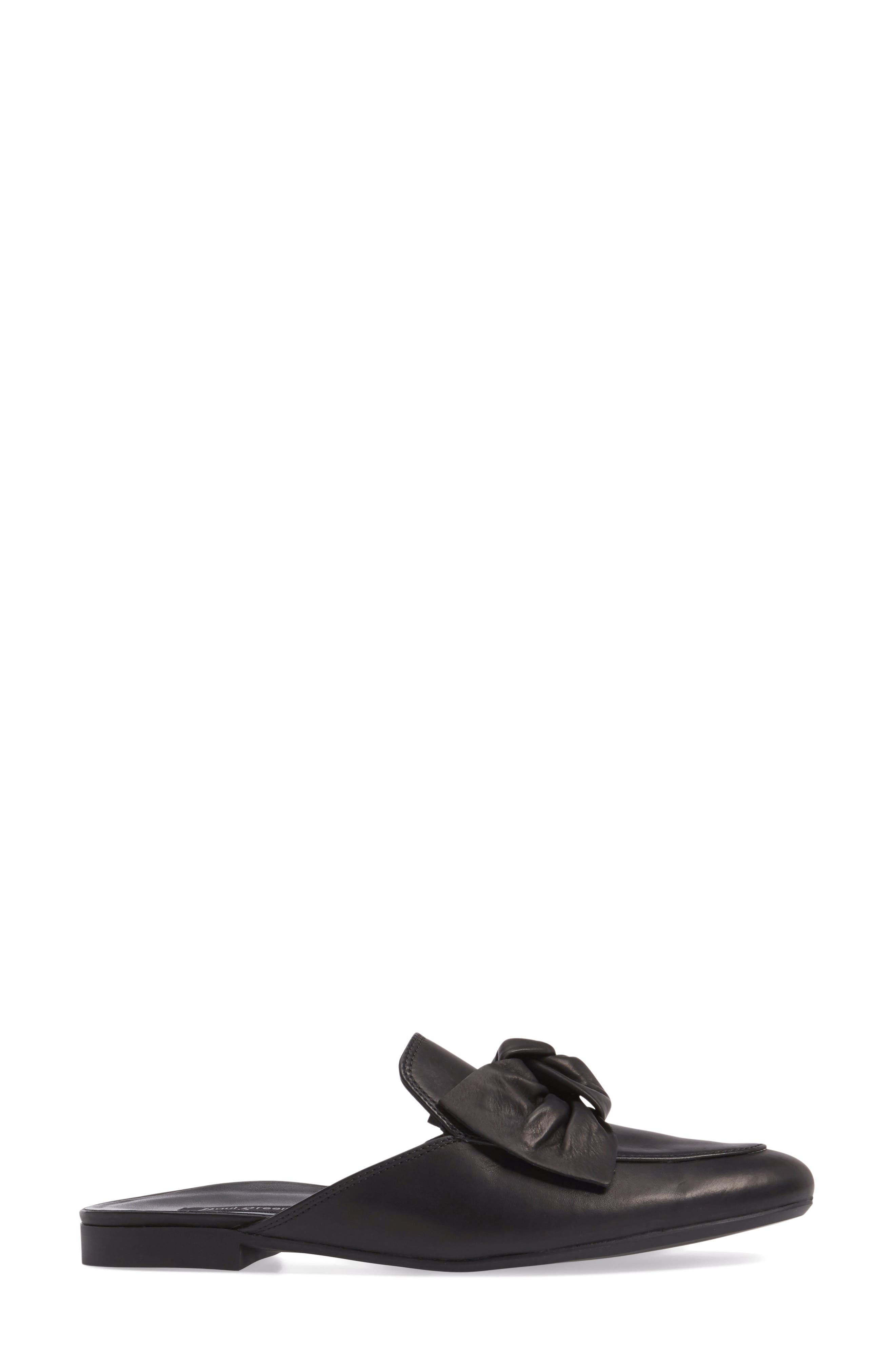 Mary Bow Mule Loafer,                             Alternate thumbnail 3, color,                             Black Leather