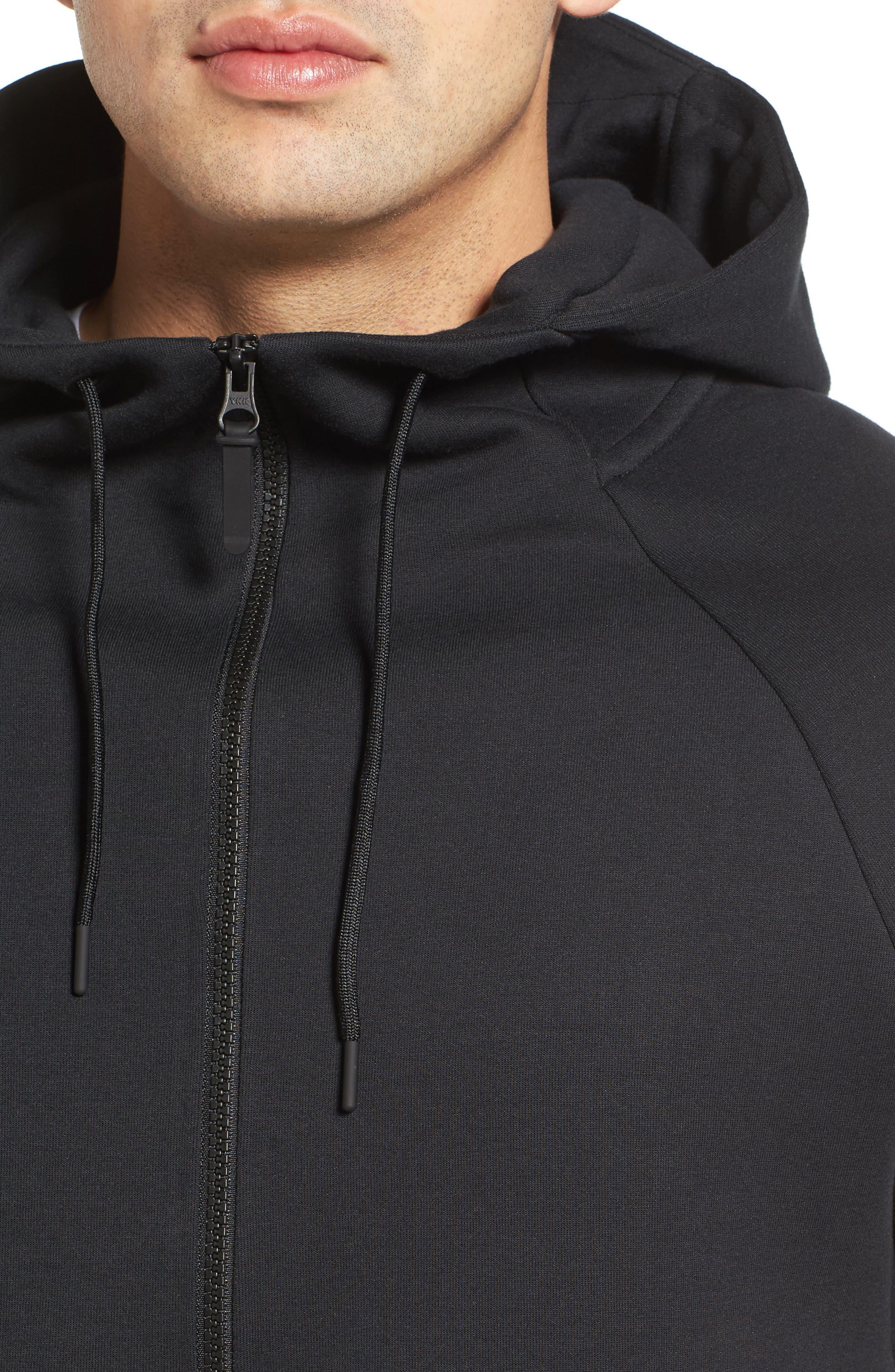 Half-Zip Pullover Hoodie,                             Alternate thumbnail 4, color,                             Black/ Black/ Black
