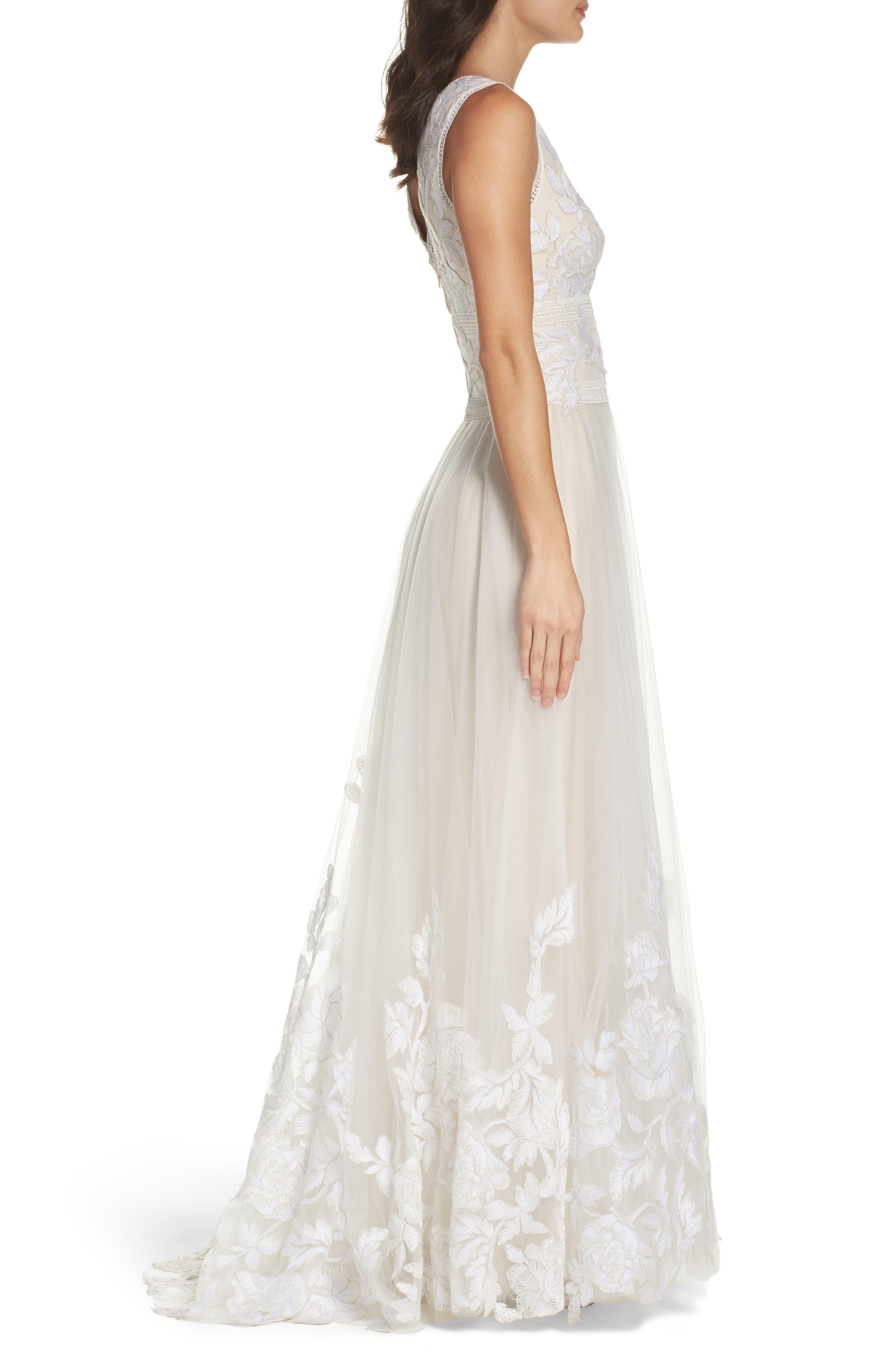 Alternate Image 3  - Tadashi Shoji Tulle Lace A-Line Gown
