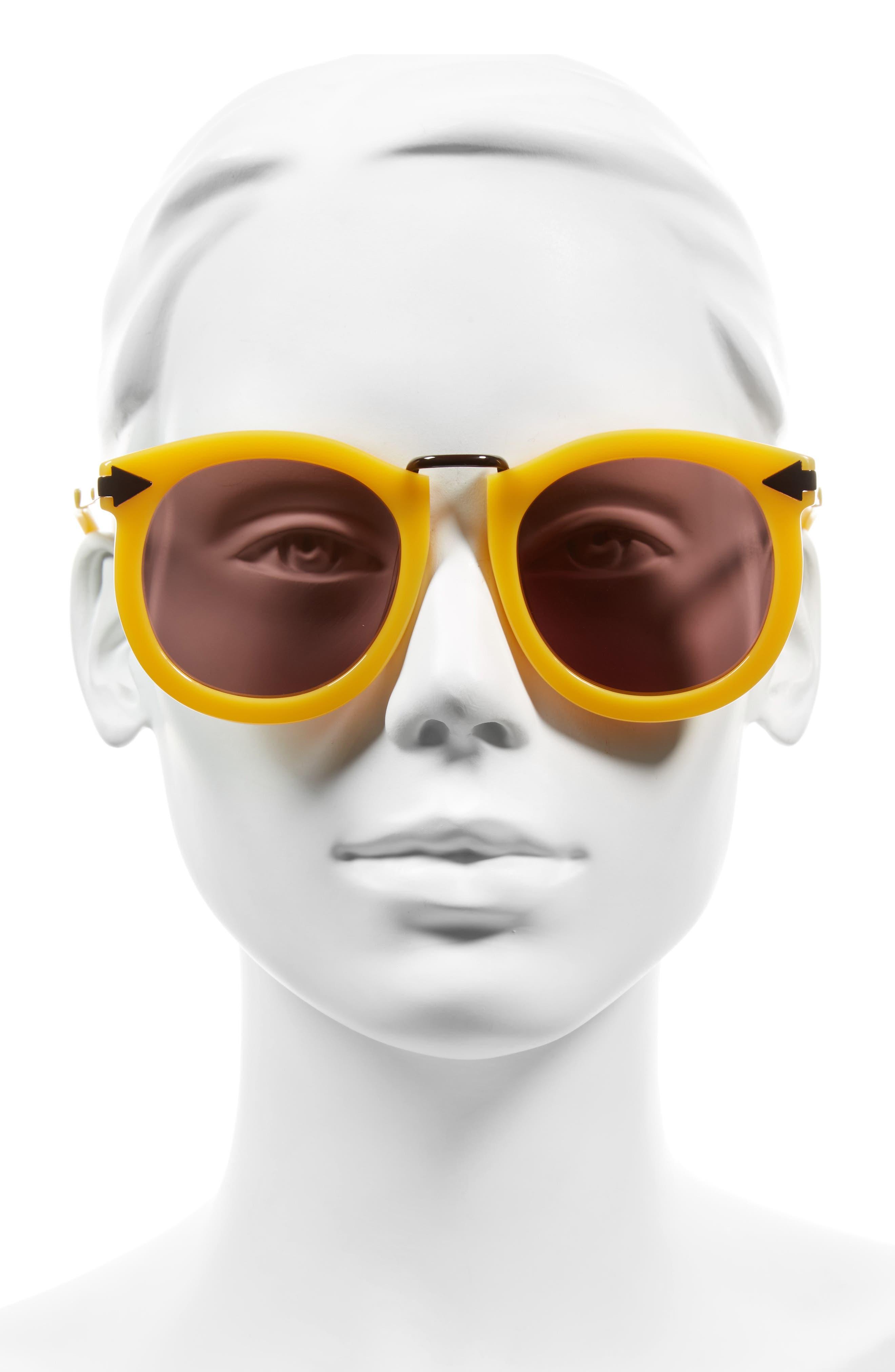 'Super Lunar - Arrowed by Karen' 52mm Sunglasses,                             Alternate thumbnail 2, color,                             Marigold/ Brown