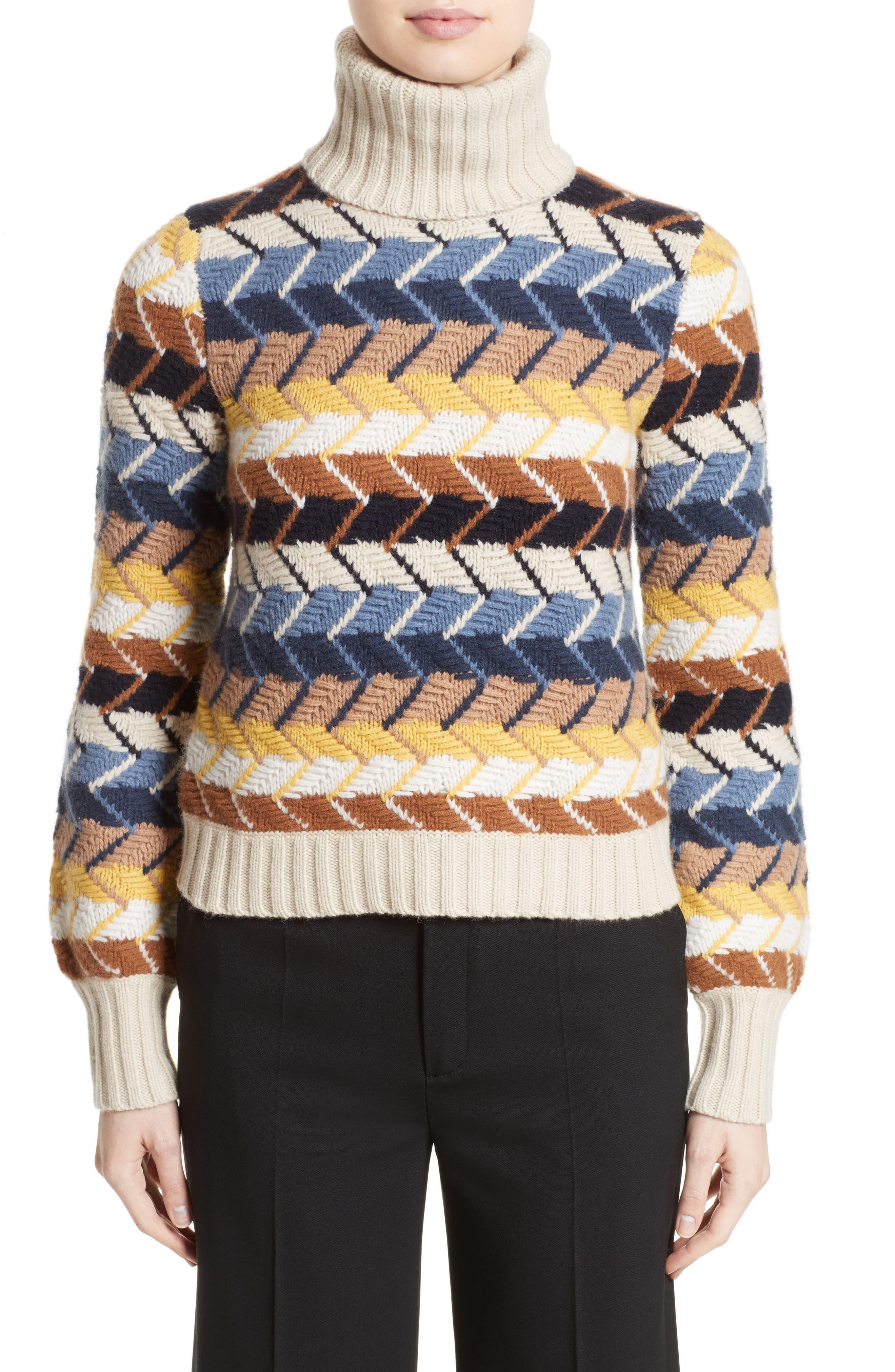 Herringbone Wool & Cashmere Turtleneck Sweater,                         Main,                         color, Multicolor Blue