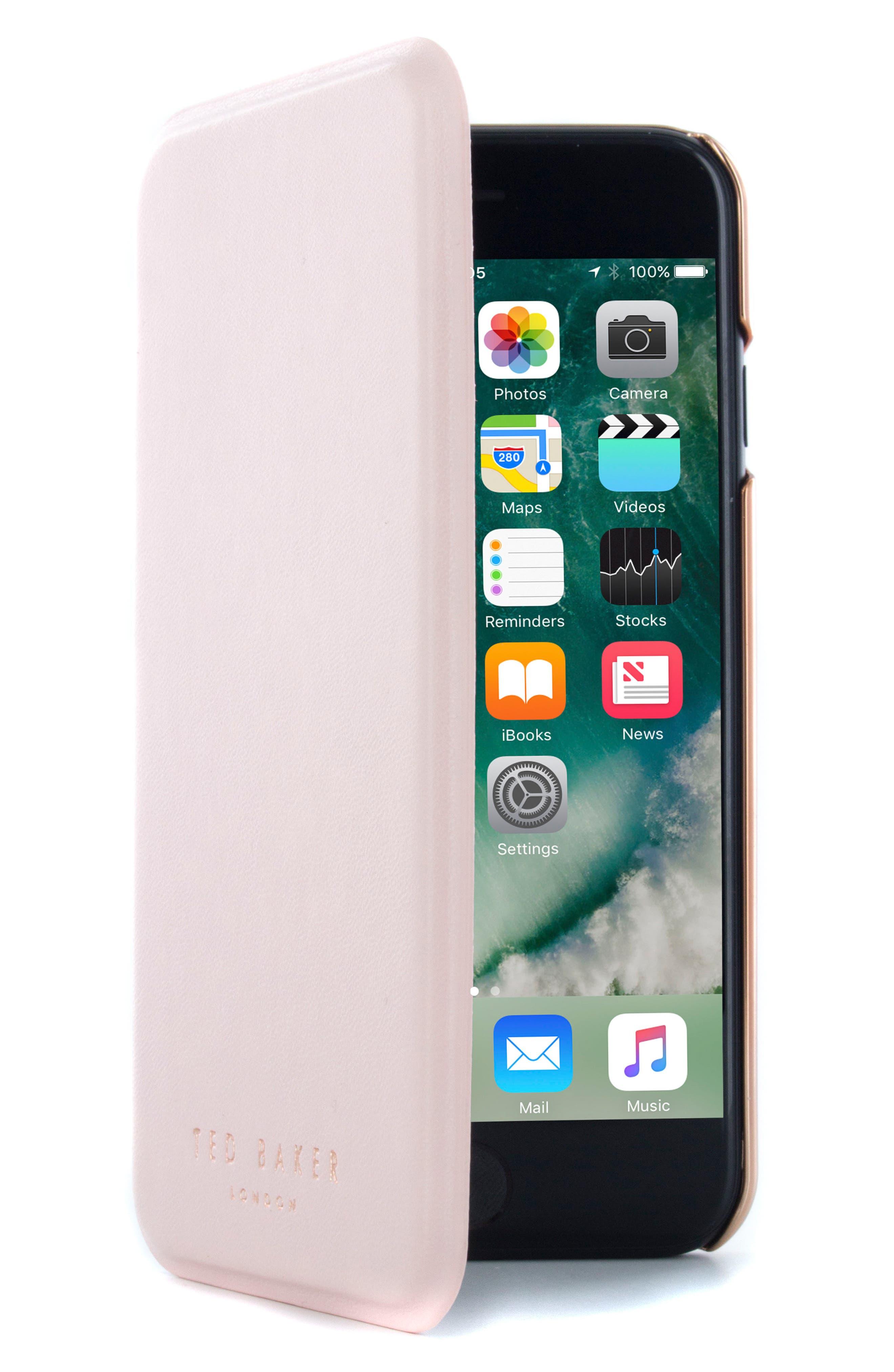 Shannon iPhone 6/6s/7/8 & 6/6s/7/8 Plus Mirror Folio Case,                         Main,                         color, Light Pink