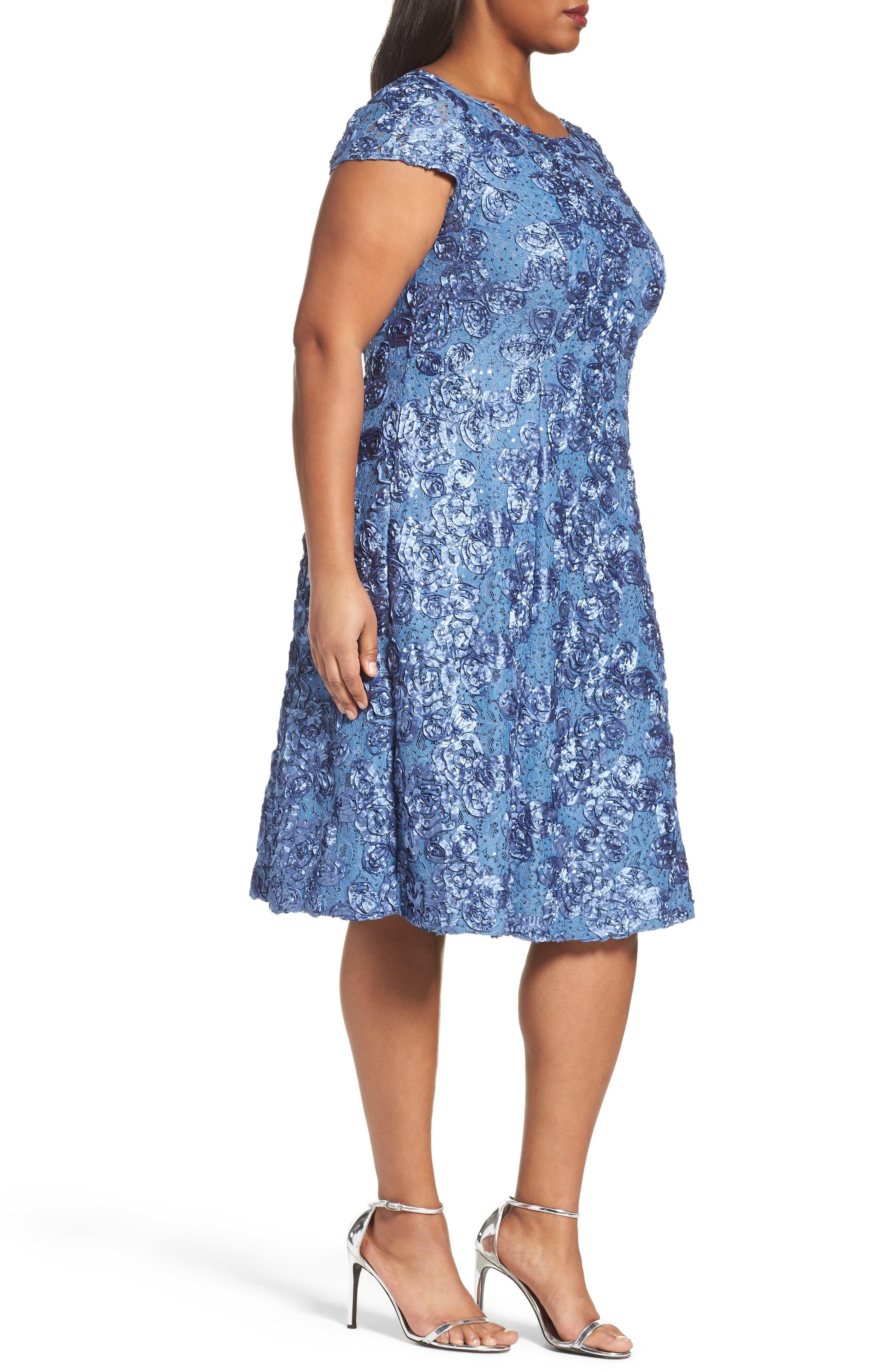 Alternate Image 3  - Alex Evenings Rosette Fit & Flare Dress (Plus Size)