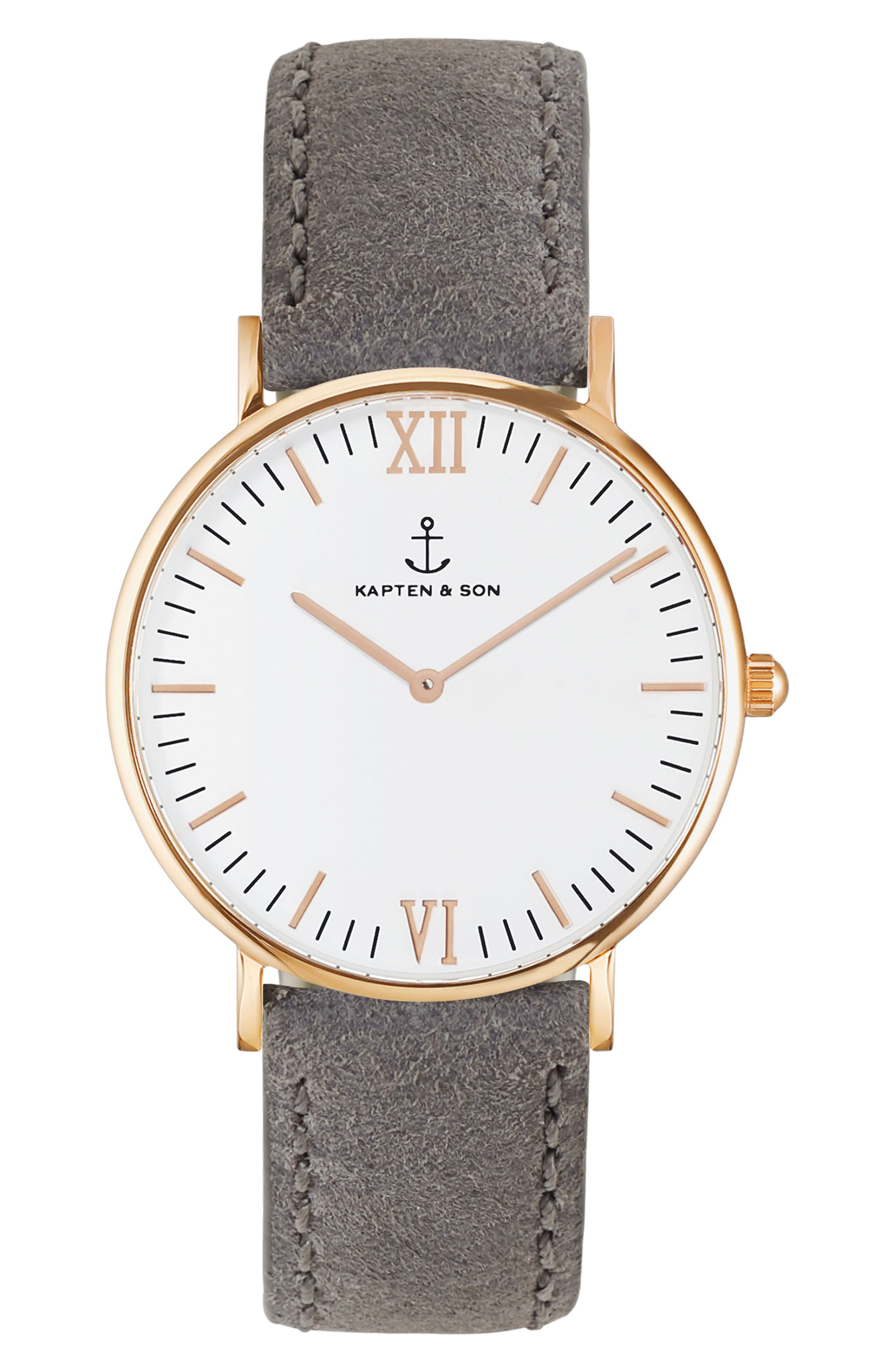 Campina Leather Strap Watch, 36mm,                         Main,                         color, Grey/White/Rose Gold