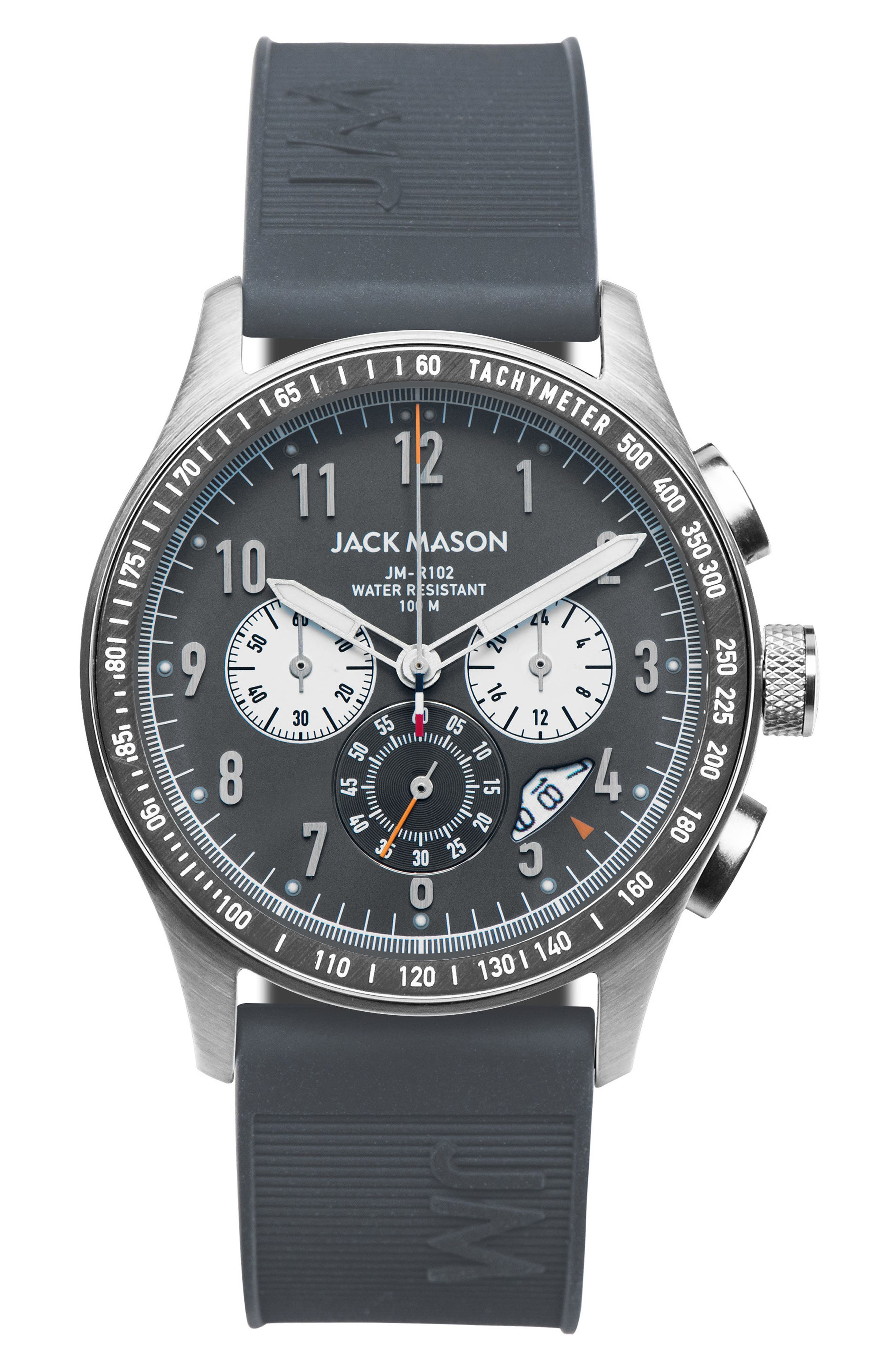 Jack Mason Racing Chronograph Rubber Strap Watch, 46mm