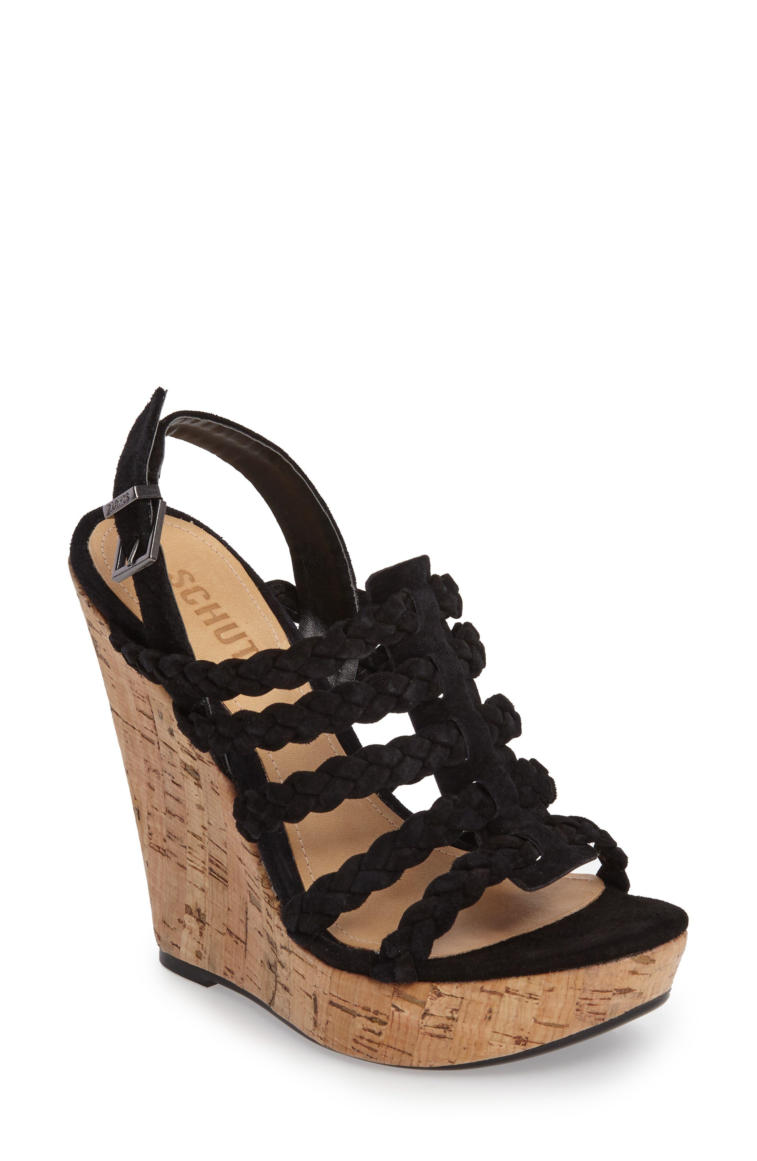 Abigally Wedge Sandal,                         Main,                         color, Black