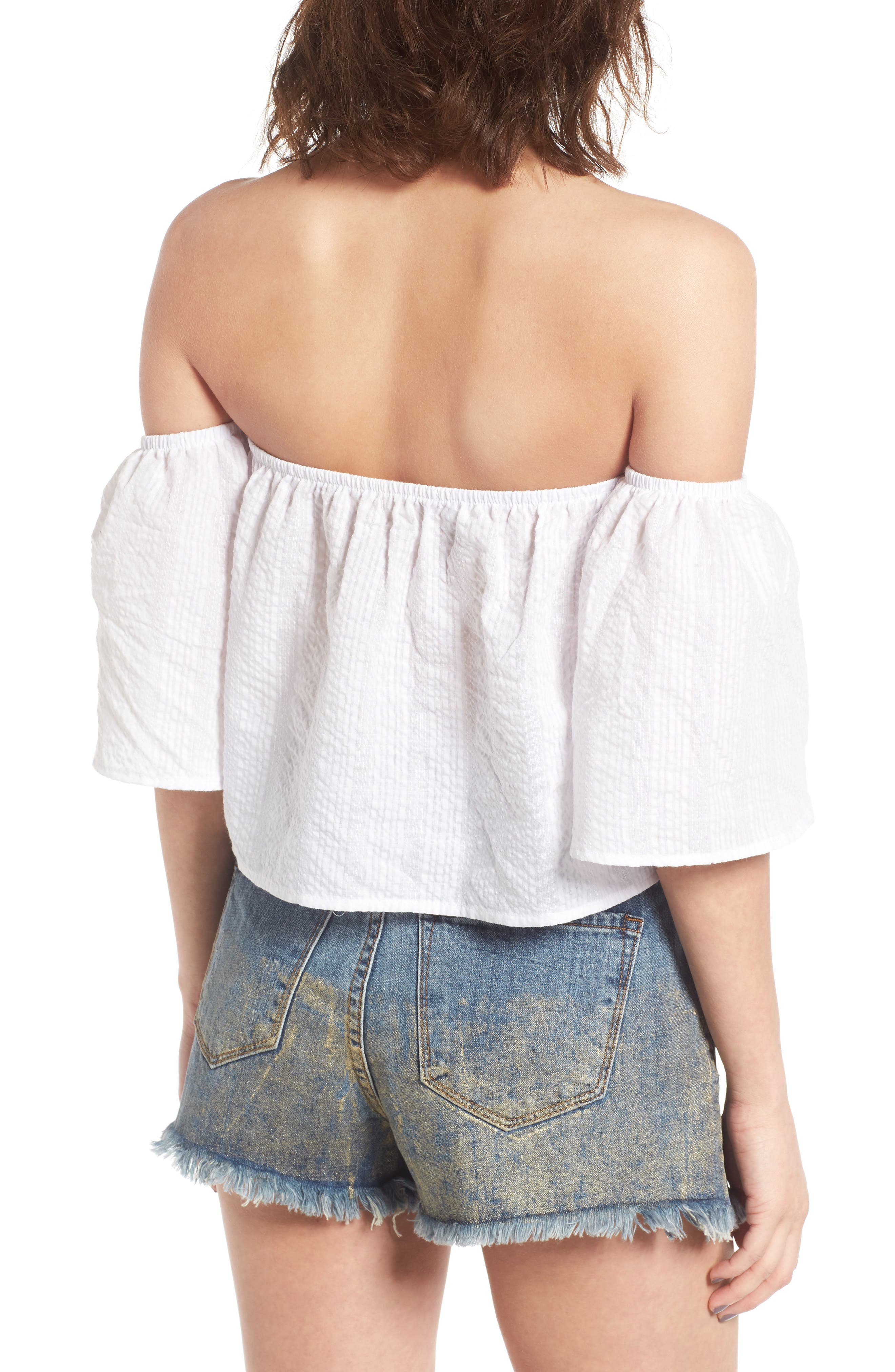 Off the Shoulder Crop Top,                             Alternate thumbnail 2, color,                             White