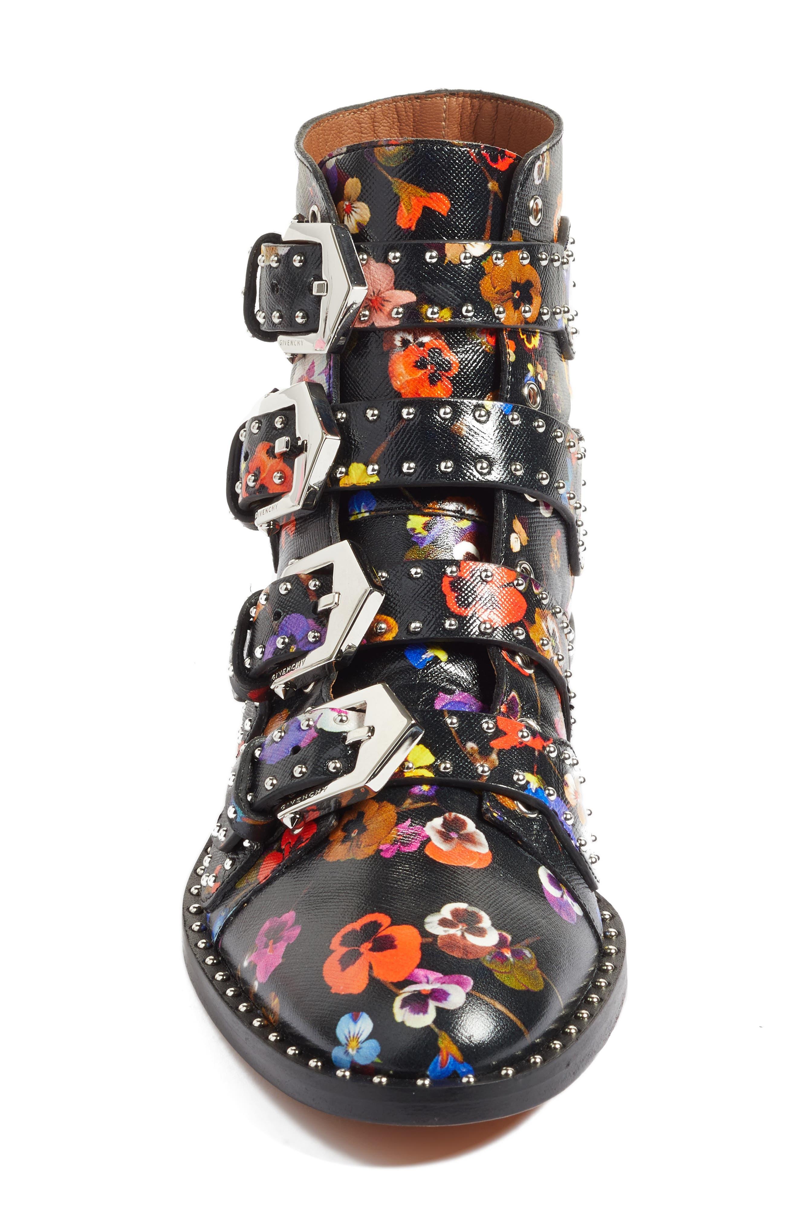 Prue Ankle Boot,                             Alternate thumbnail 6, color,                             Black Floral