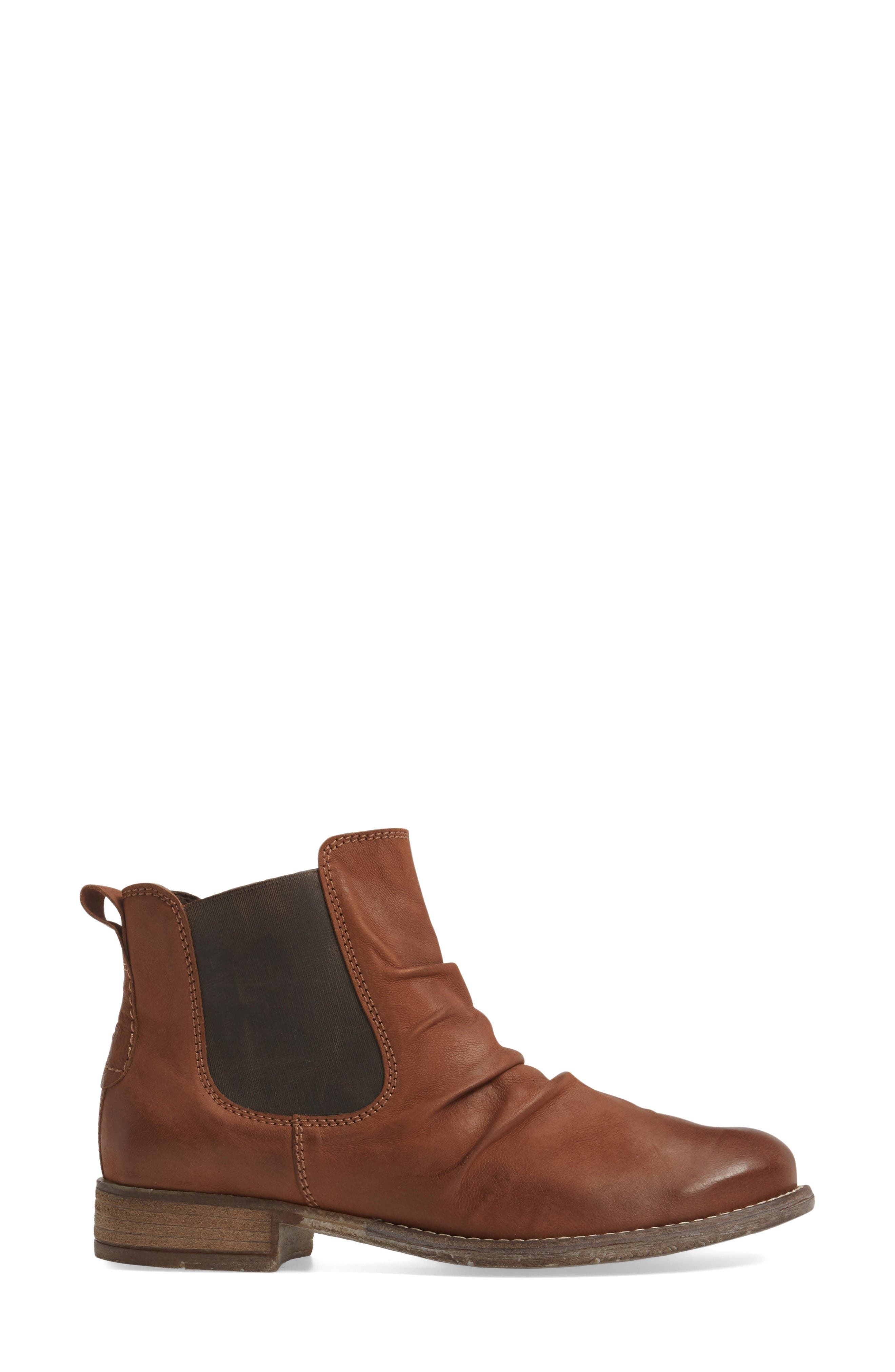 Sienna 59 Slouchy Chelsea Bootie,                             Alternate thumbnail 3, color,                             Castagne Leather