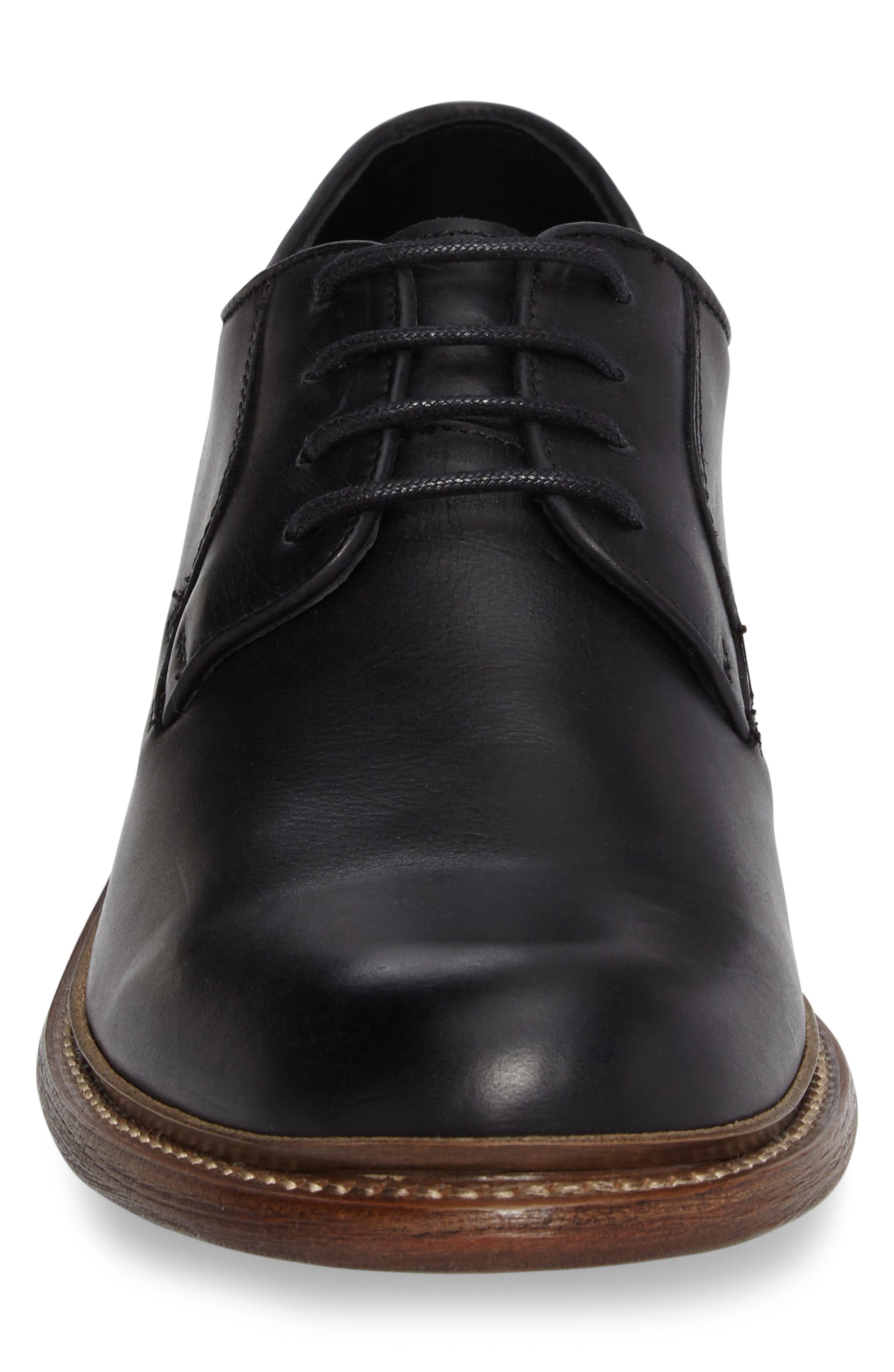 1000 Mile Luke Plain Toe Derby,                             Alternate thumbnail 4, color,                             Black Leather