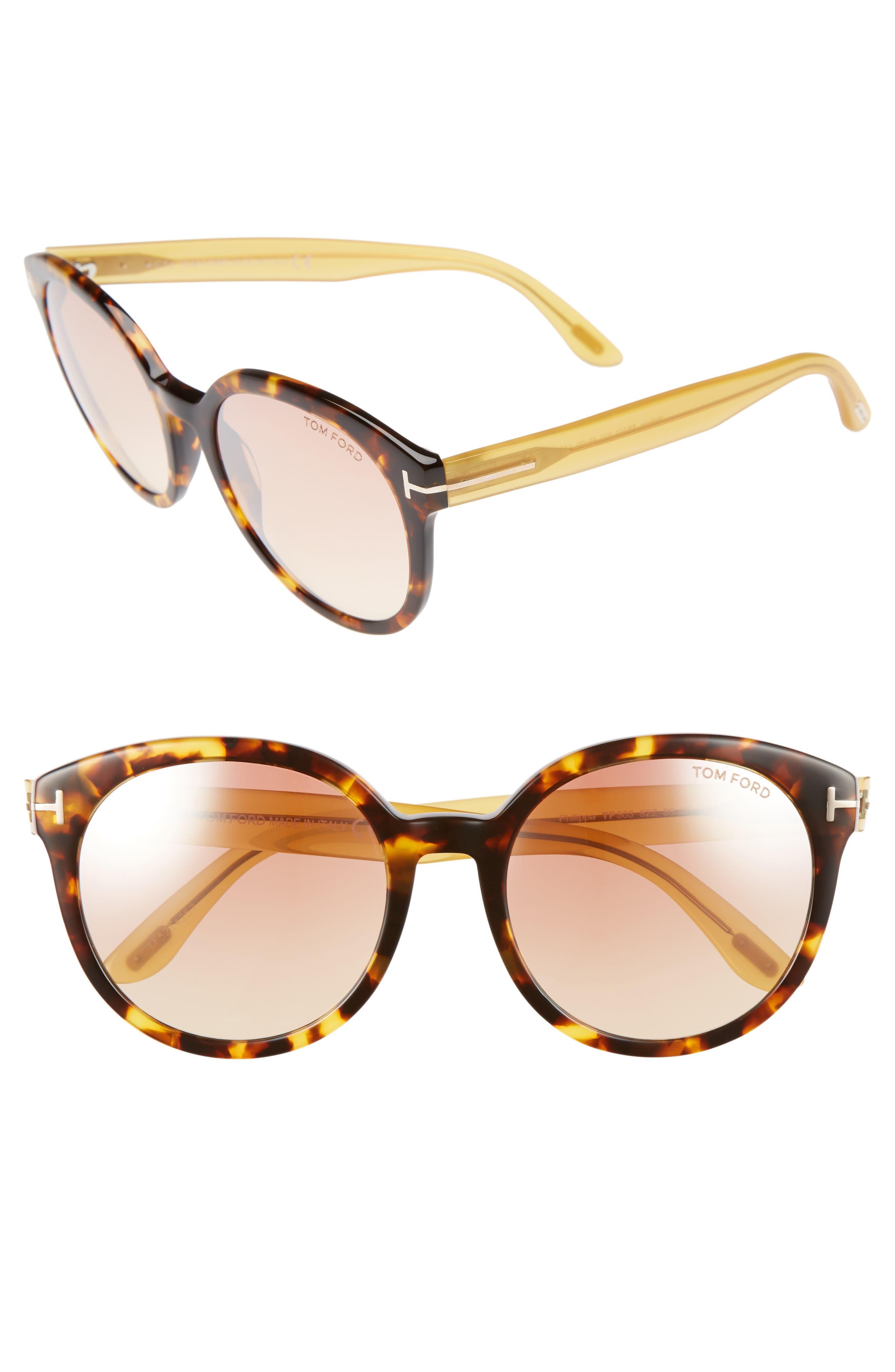 Philippa 55mm Gradient Round Aviator Sunglasses,                         Main,                         color, Havana/ Honey/ Strawberry Pink