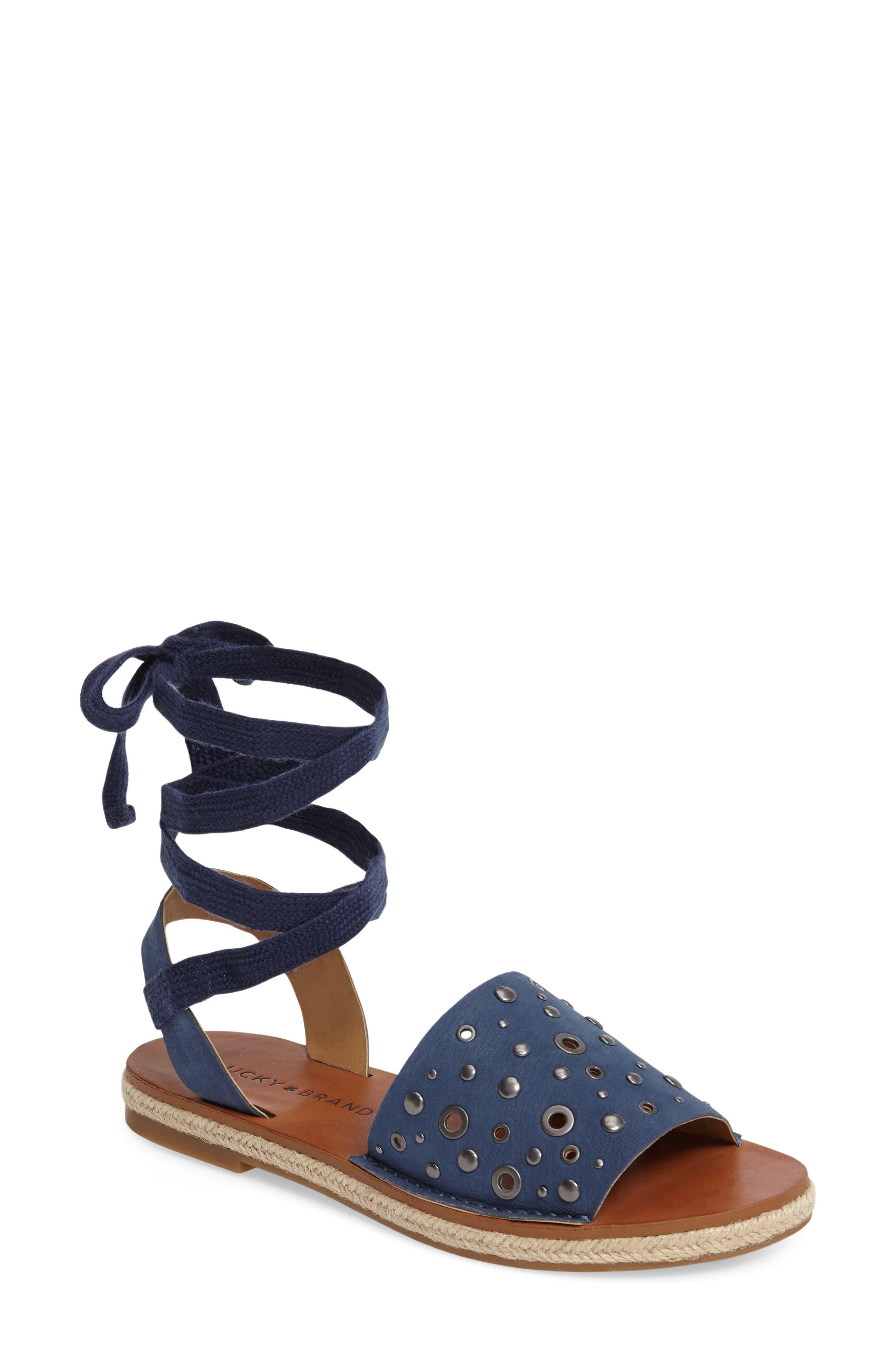 Daytah Ankle Tie Sandal,                         Main,                         color, Dark Chambray