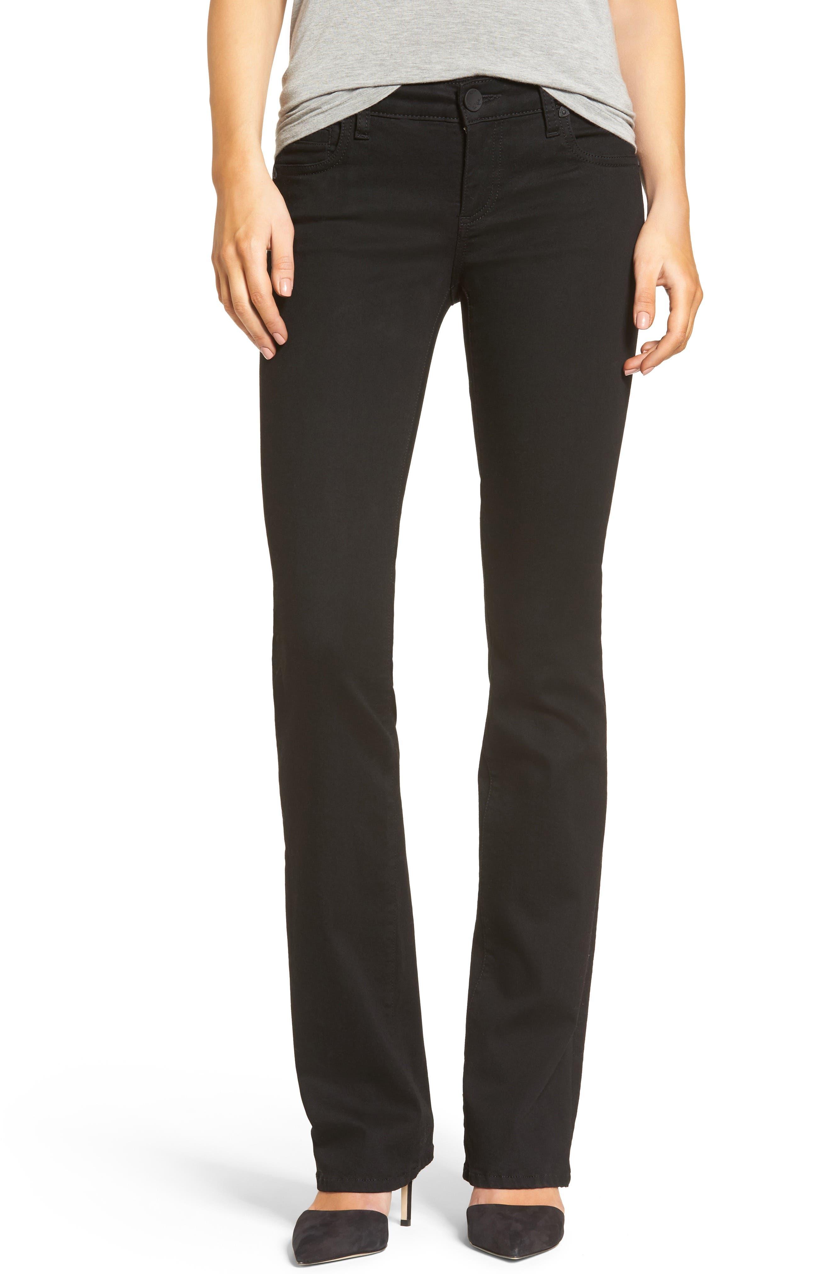 Natalie Stretch Bootleg Jeans,                         Main,                         color, Black