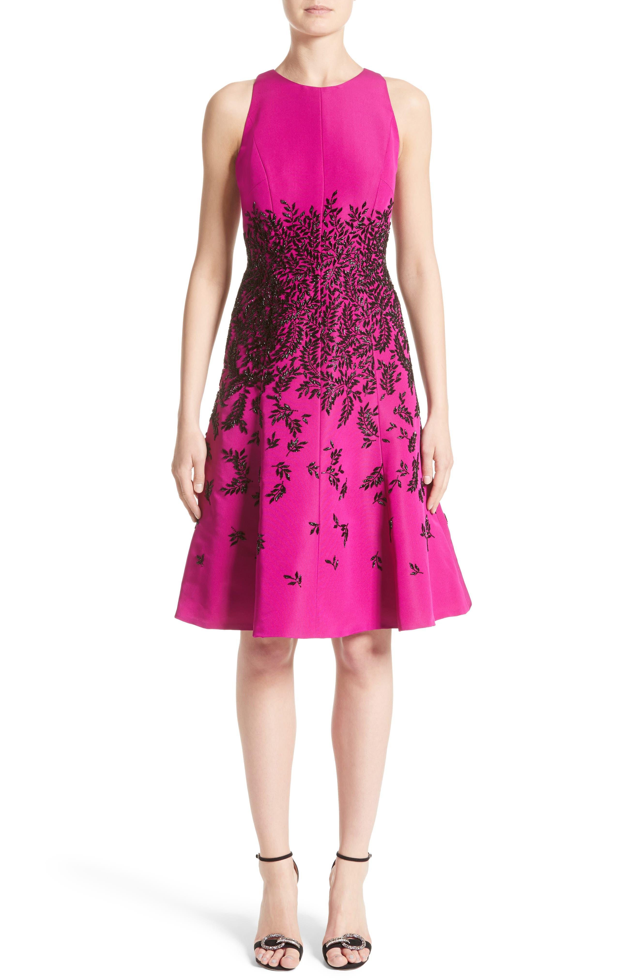 Beaded Fit & Flare Dress,                         Main,                         color, Fuchsia