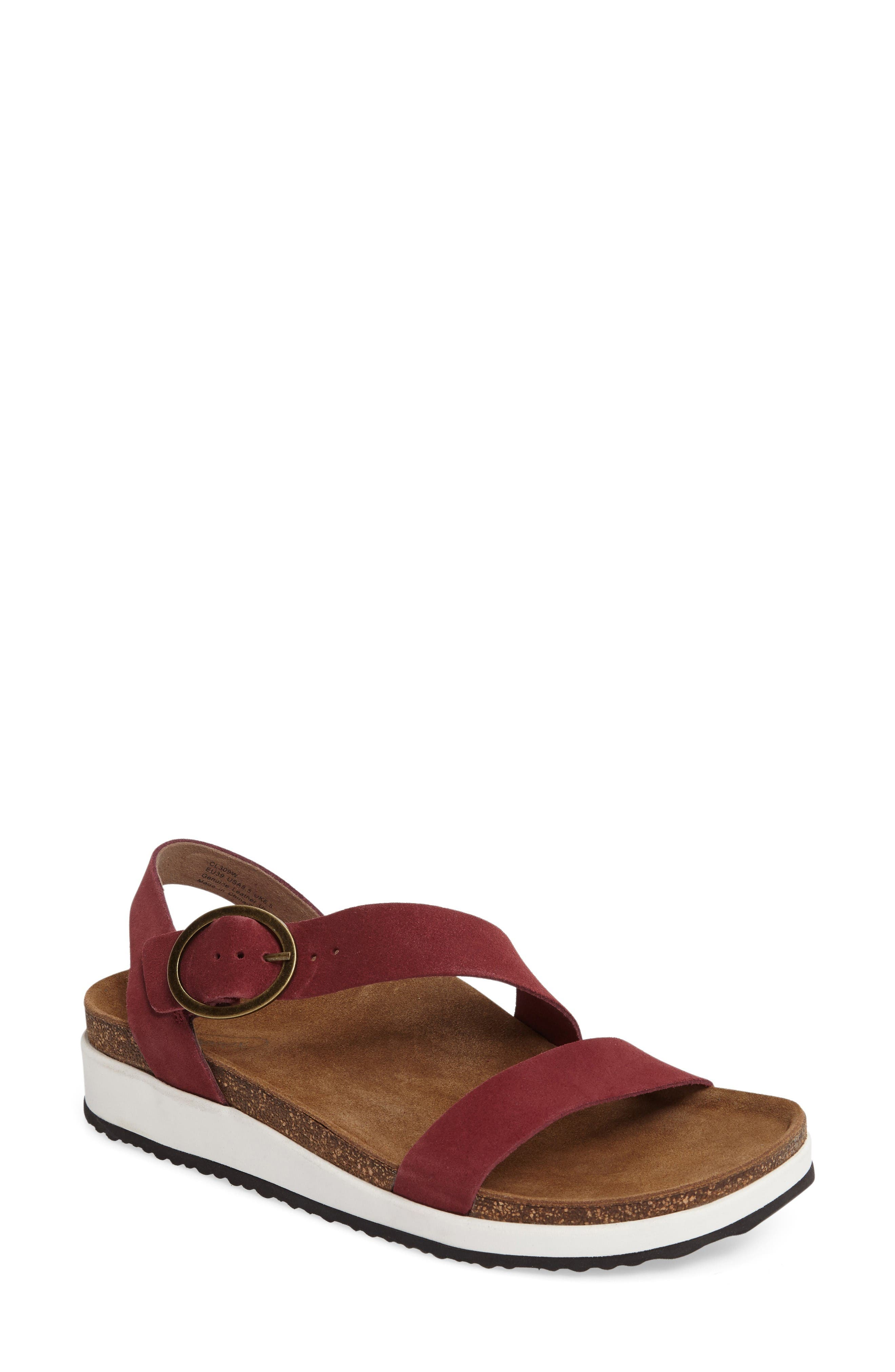 Adrianna Sandal,                             Main thumbnail 1, color,                             Maroon Suede