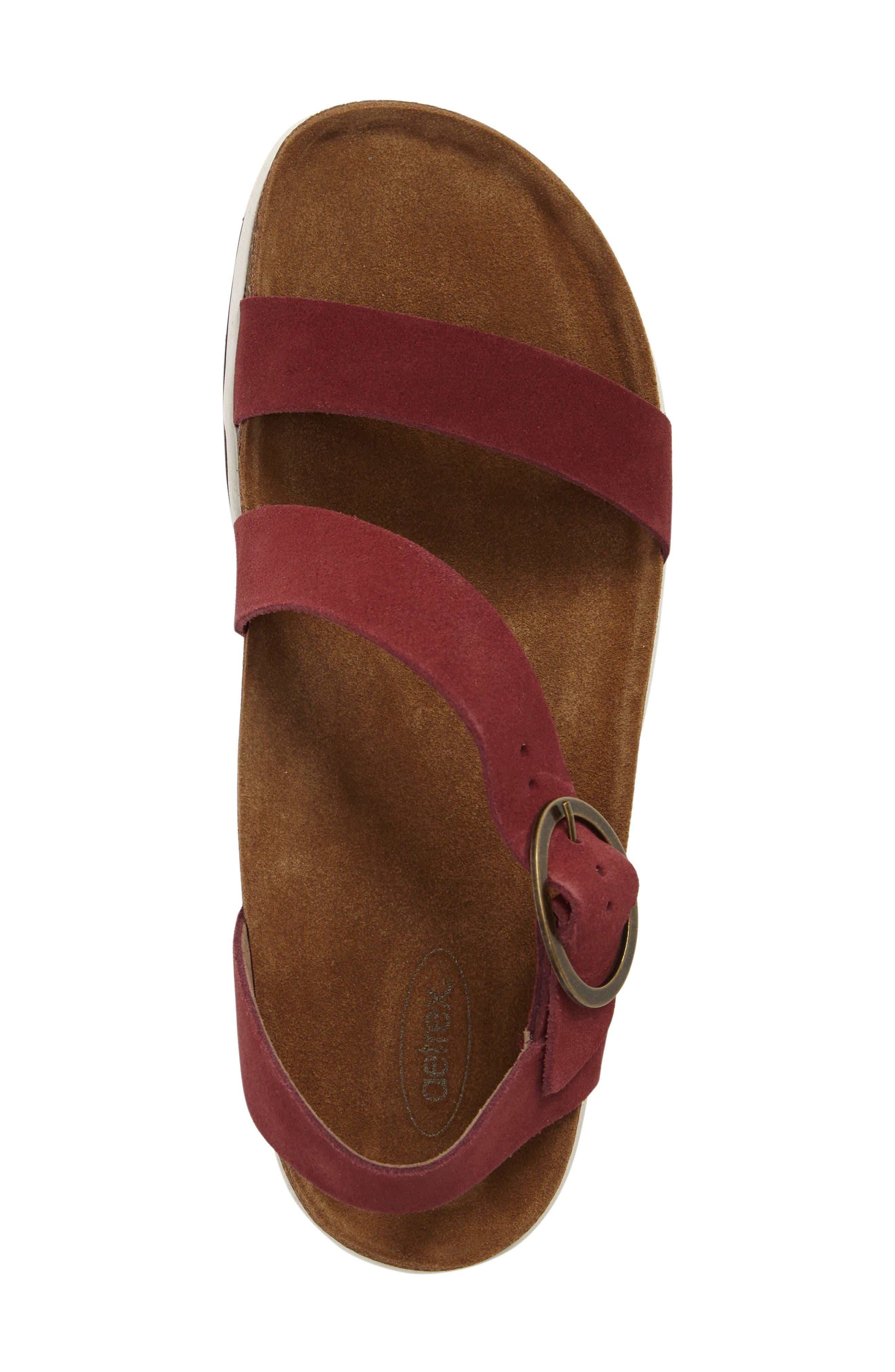 Adrianna Sandal,                             Alternate thumbnail 5, color,                             Maroon Suede
