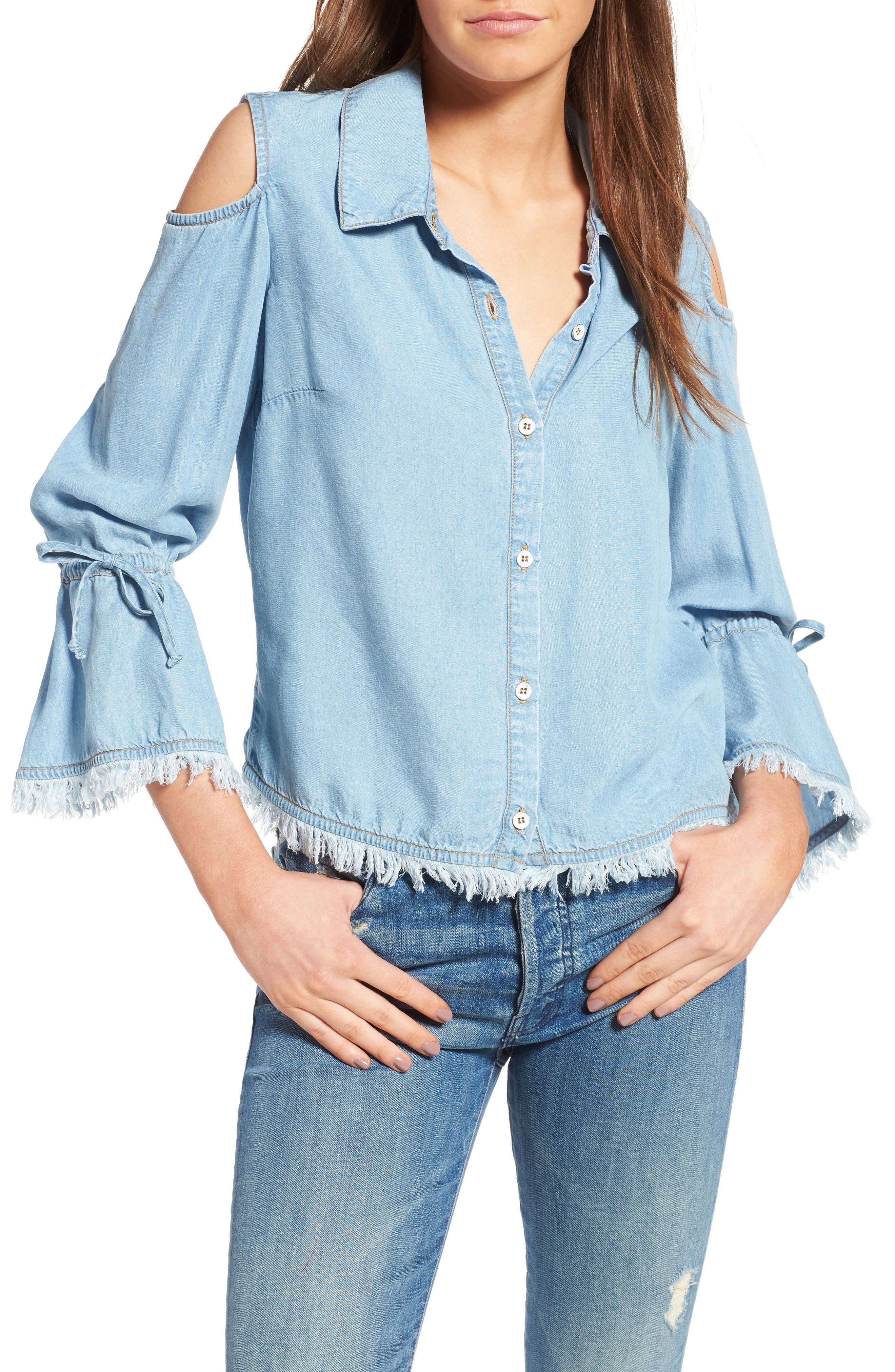 SPLENDID Cold Shoulder Chambray Top