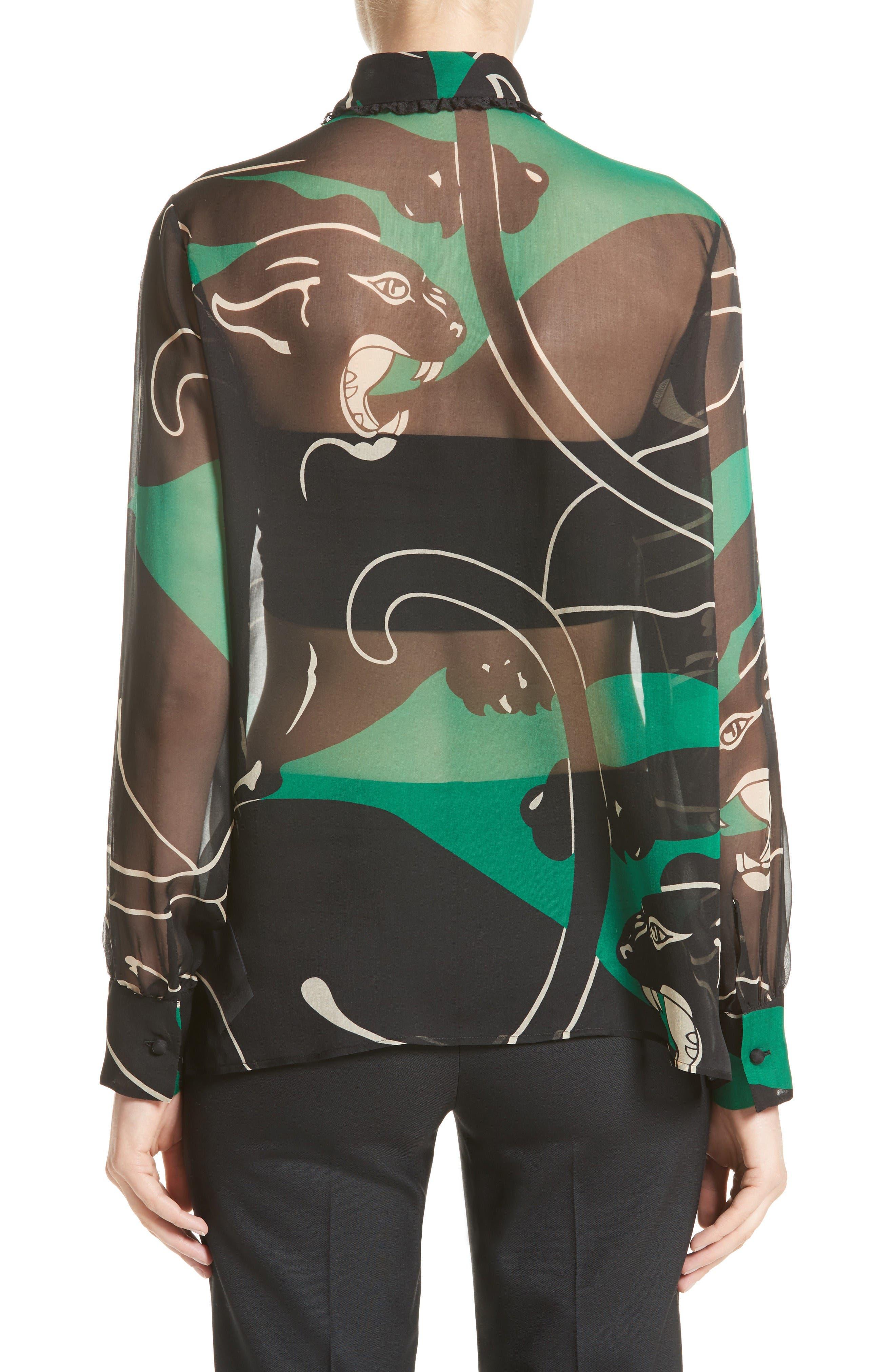 Alternate Image 2  - Valentino Panther Print Silk Chiffon Blouse