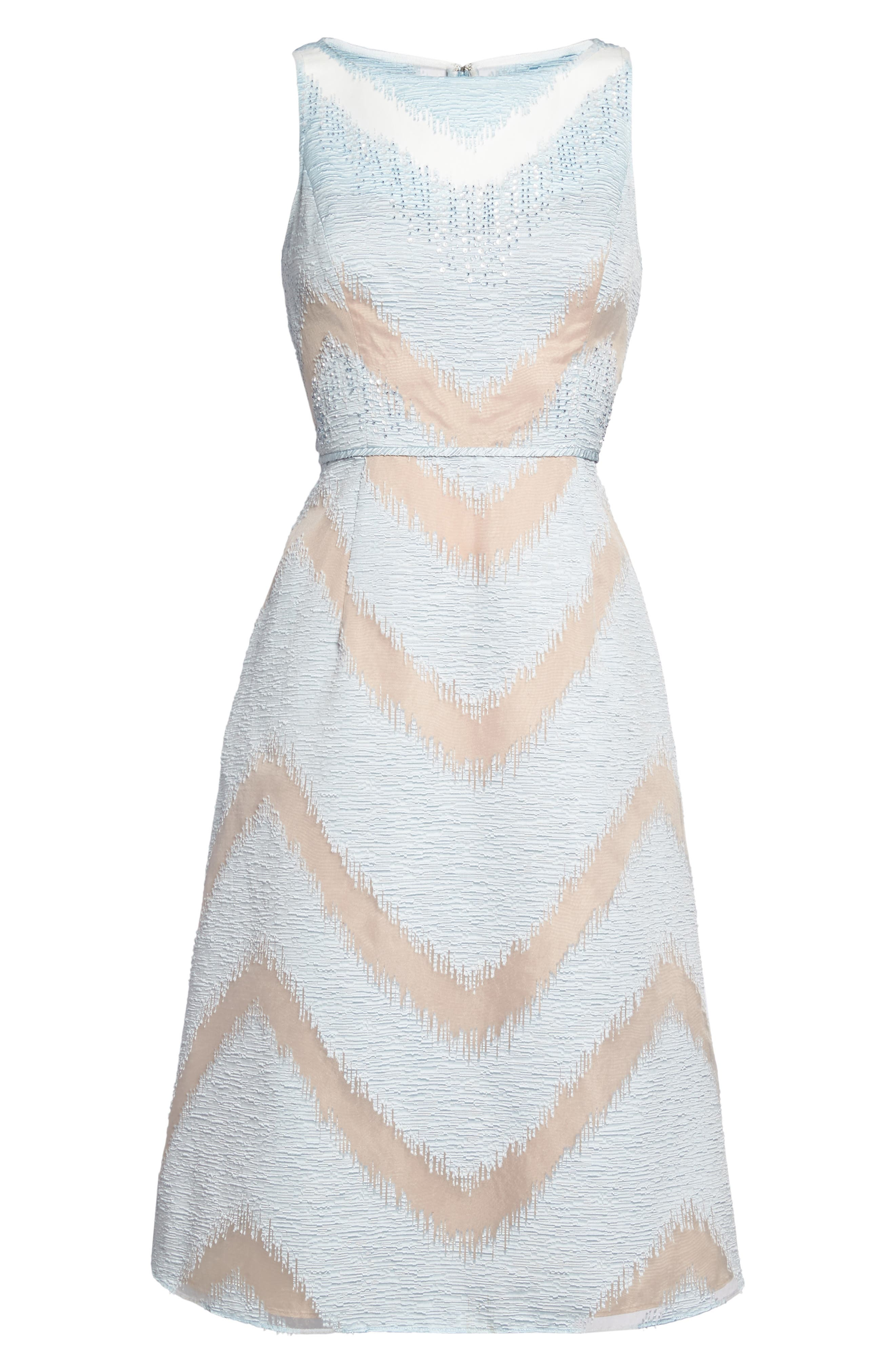 Jacquard Midi Dress,                             Alternate thumbnail 6, color,                             Ice