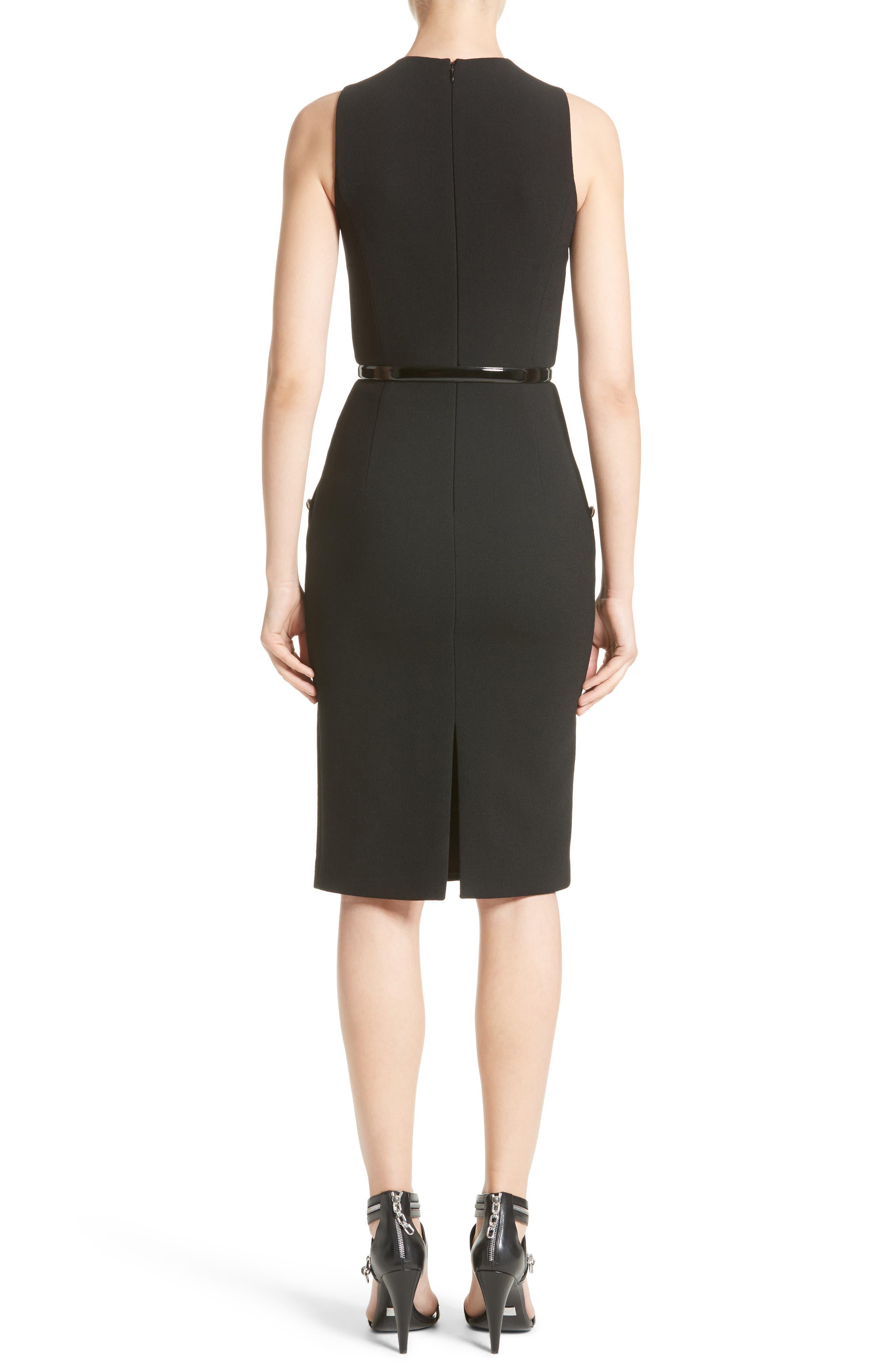Belted Stretch Bouclé Crepe Sheath Dress,                             Alternate thumbnail 2, color,                             Black