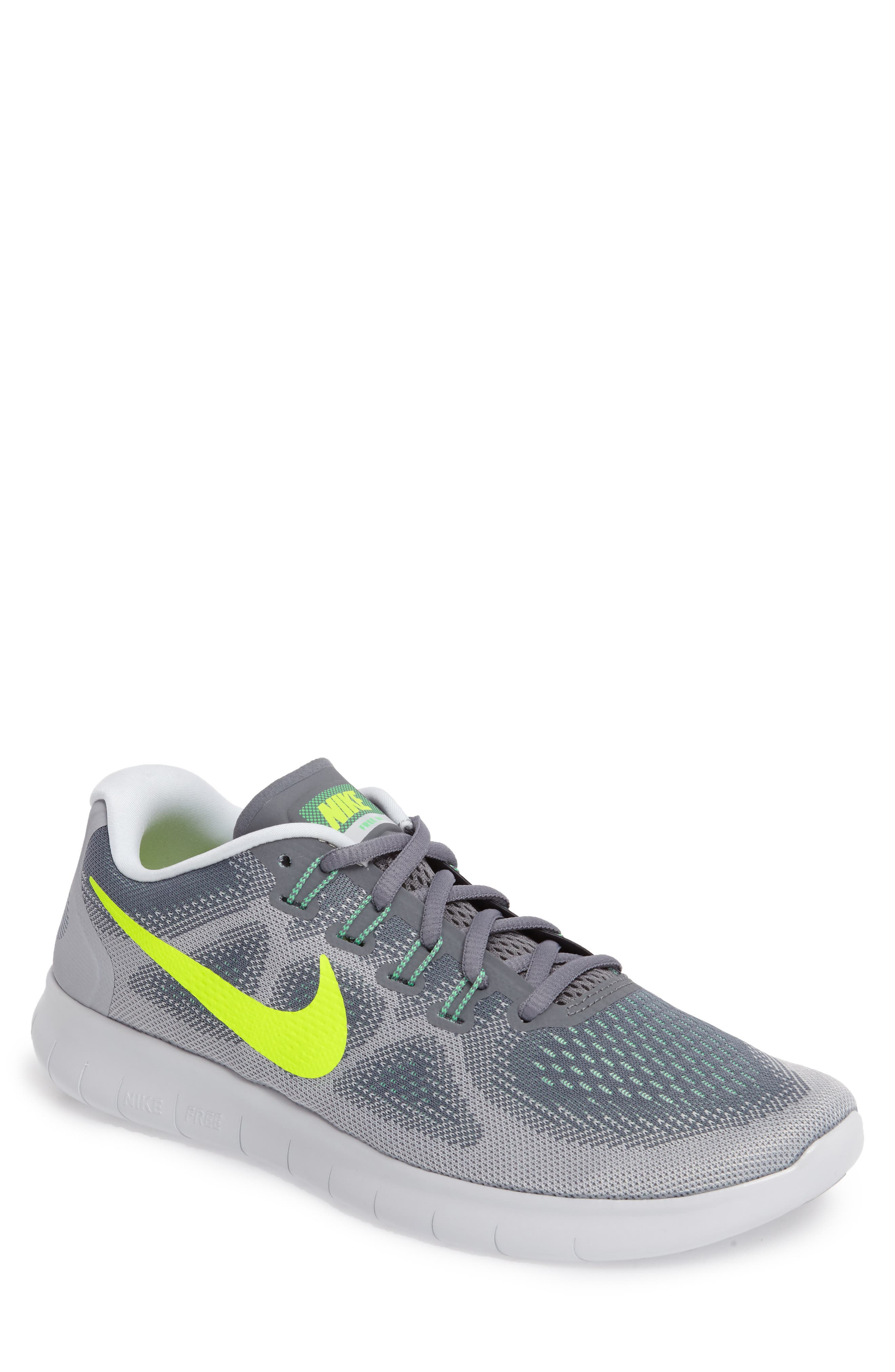 Free Run 2017 Running Shoe,                             Main thumbnail 1, color,                             Grey/ Volt/ Grey/ Green
