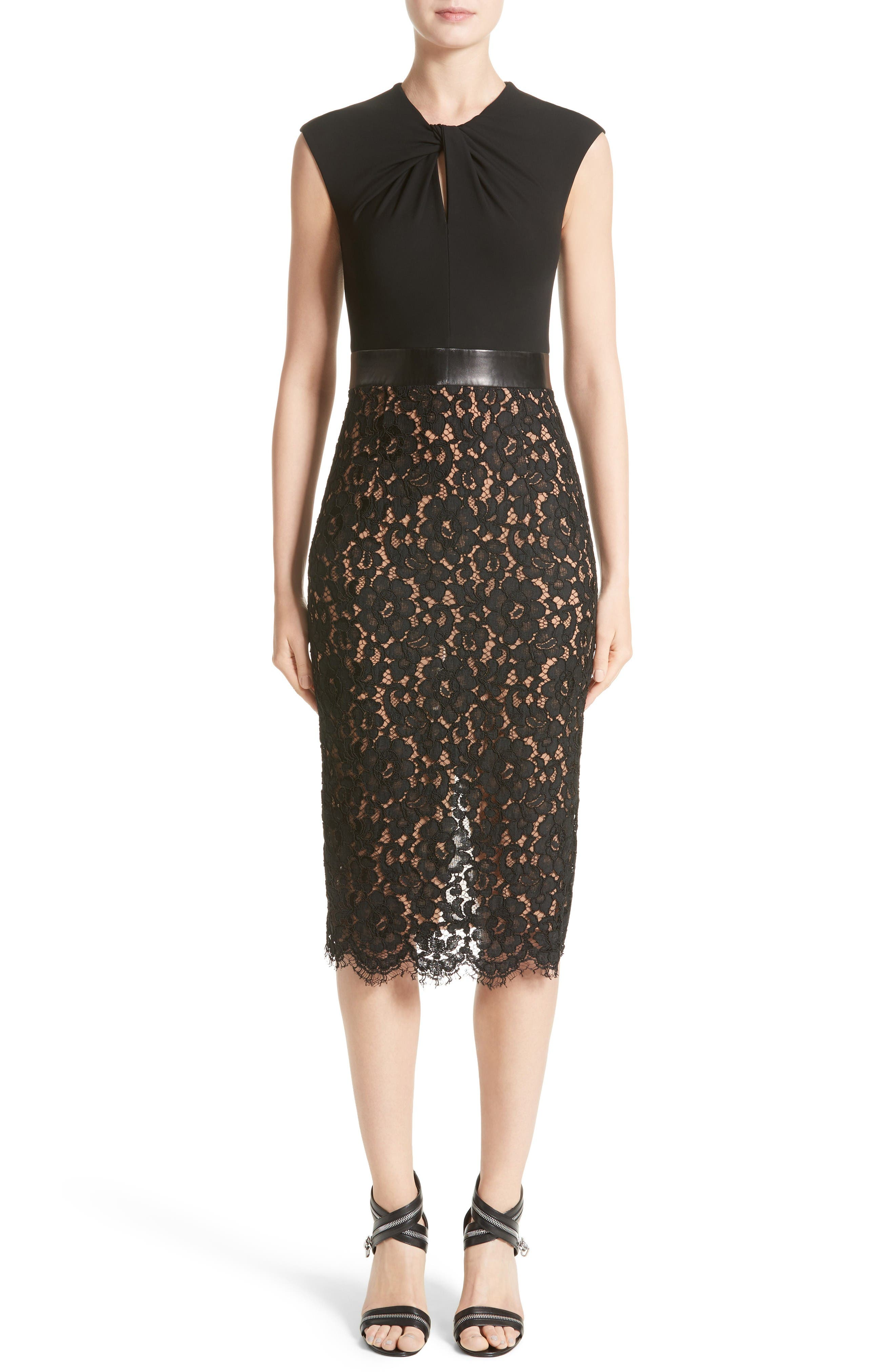 Alternate Image 1 Selected - Michael Kors Leather Trim Jersey & Lace Sheath Dress