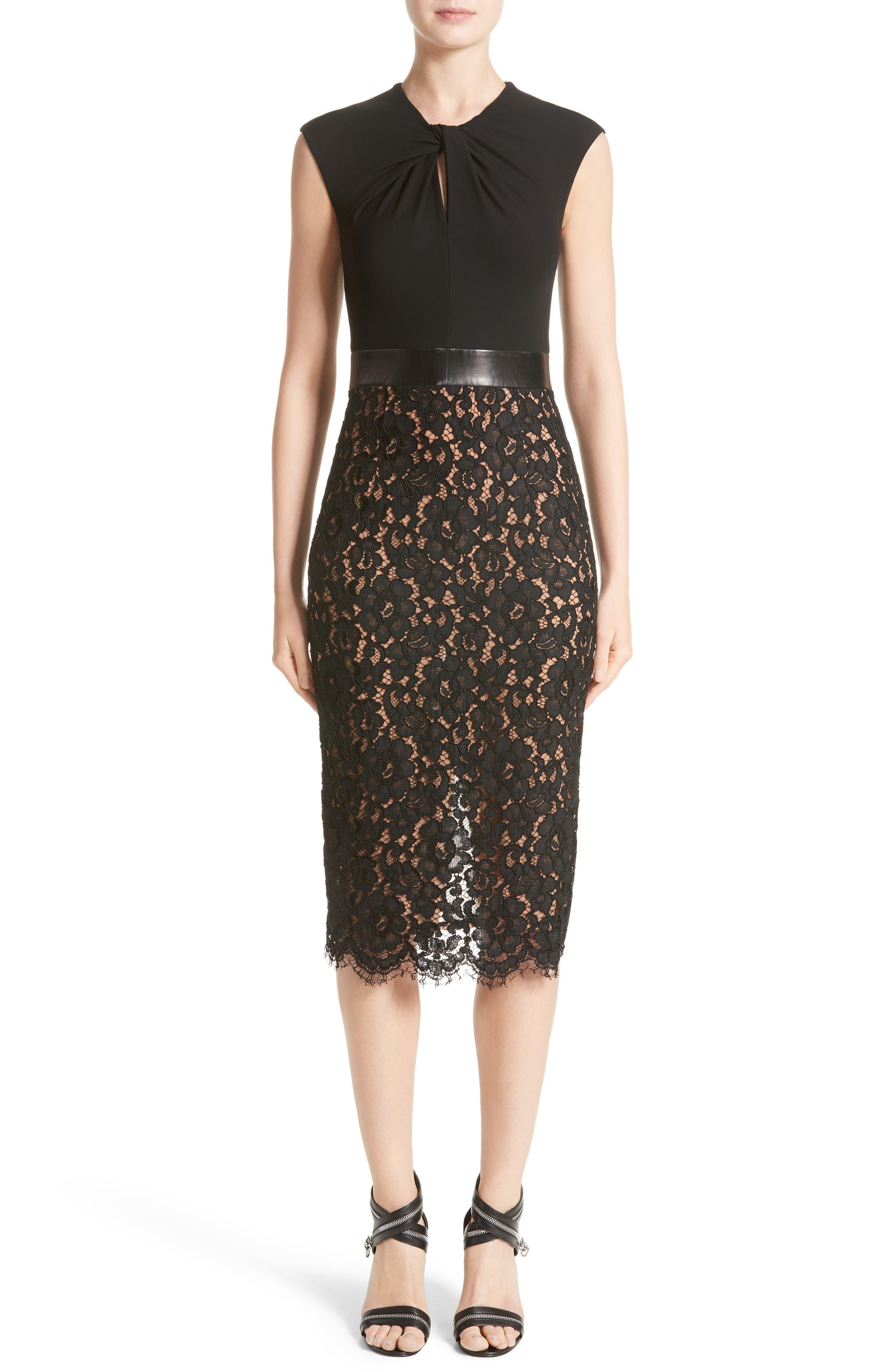 Michael Kors Leather Trim Jersey & Lace Sheath Dress