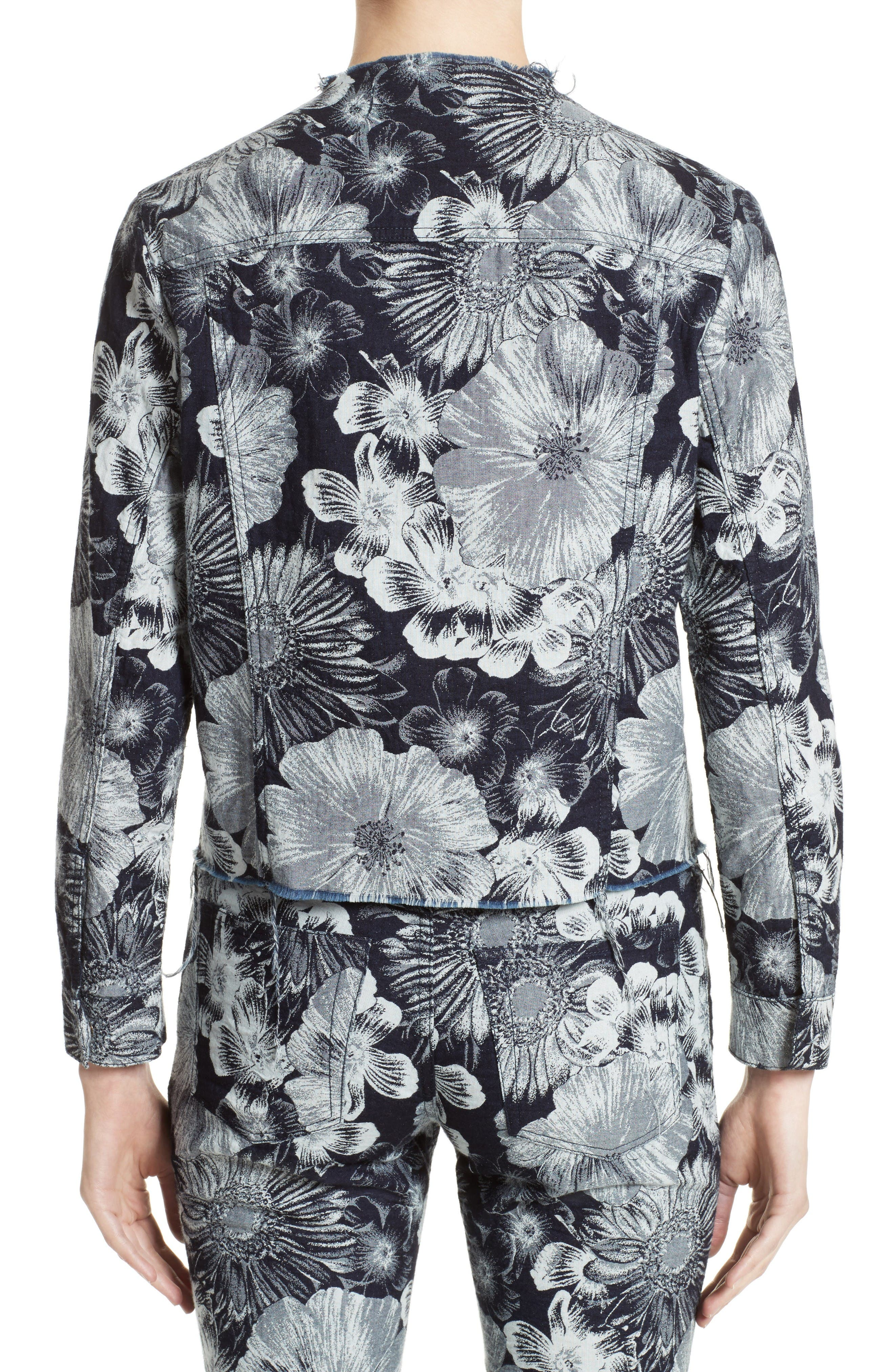 Alternate Image 2  - Marques'Almeida Floral Print Classic Fitted Denim Jacket (Nordstrom Exclusive)