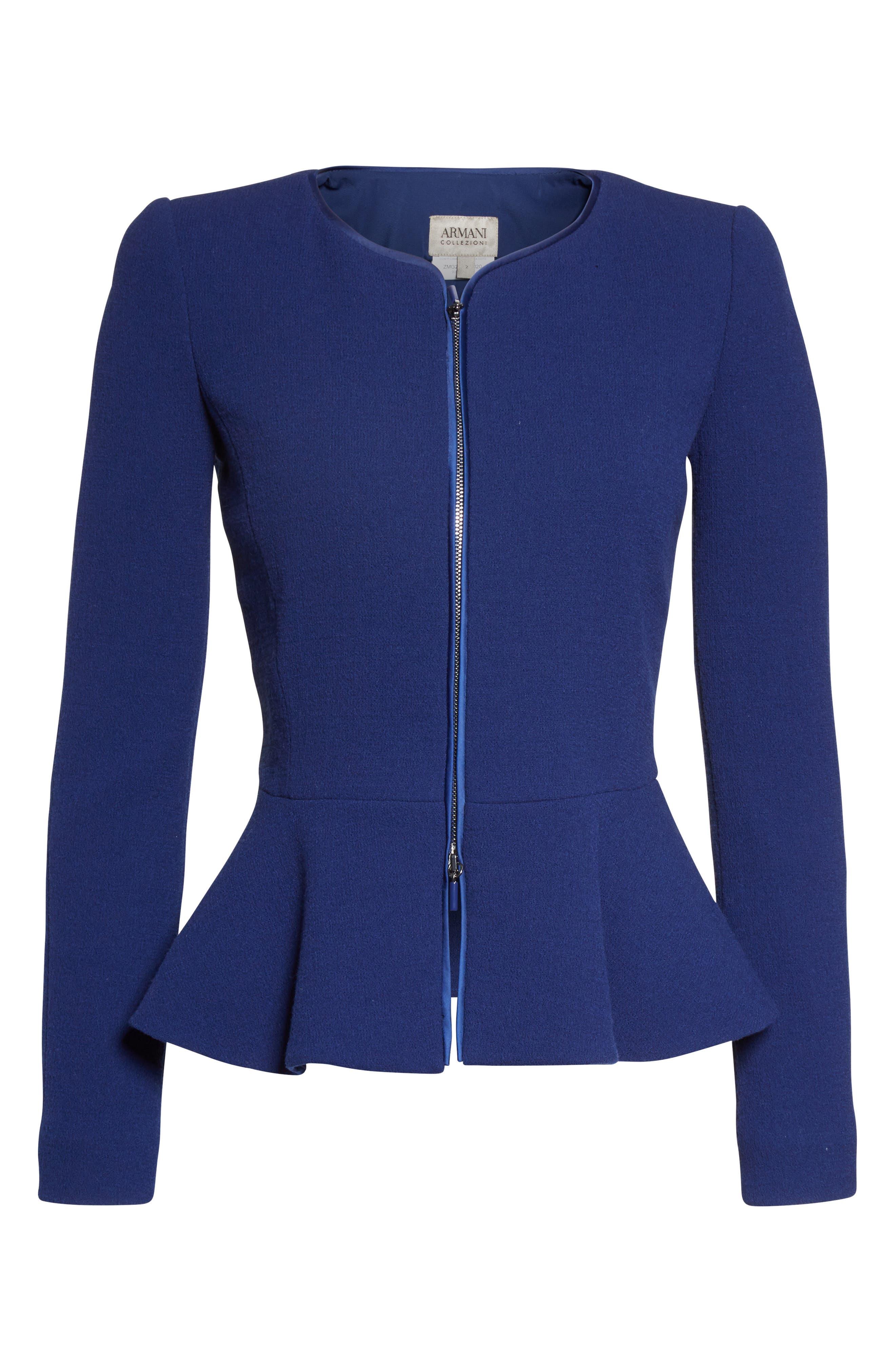 Double Crepe Peplum Jacket,                             Alternate thumbnail 4, color,                             Royal Blue