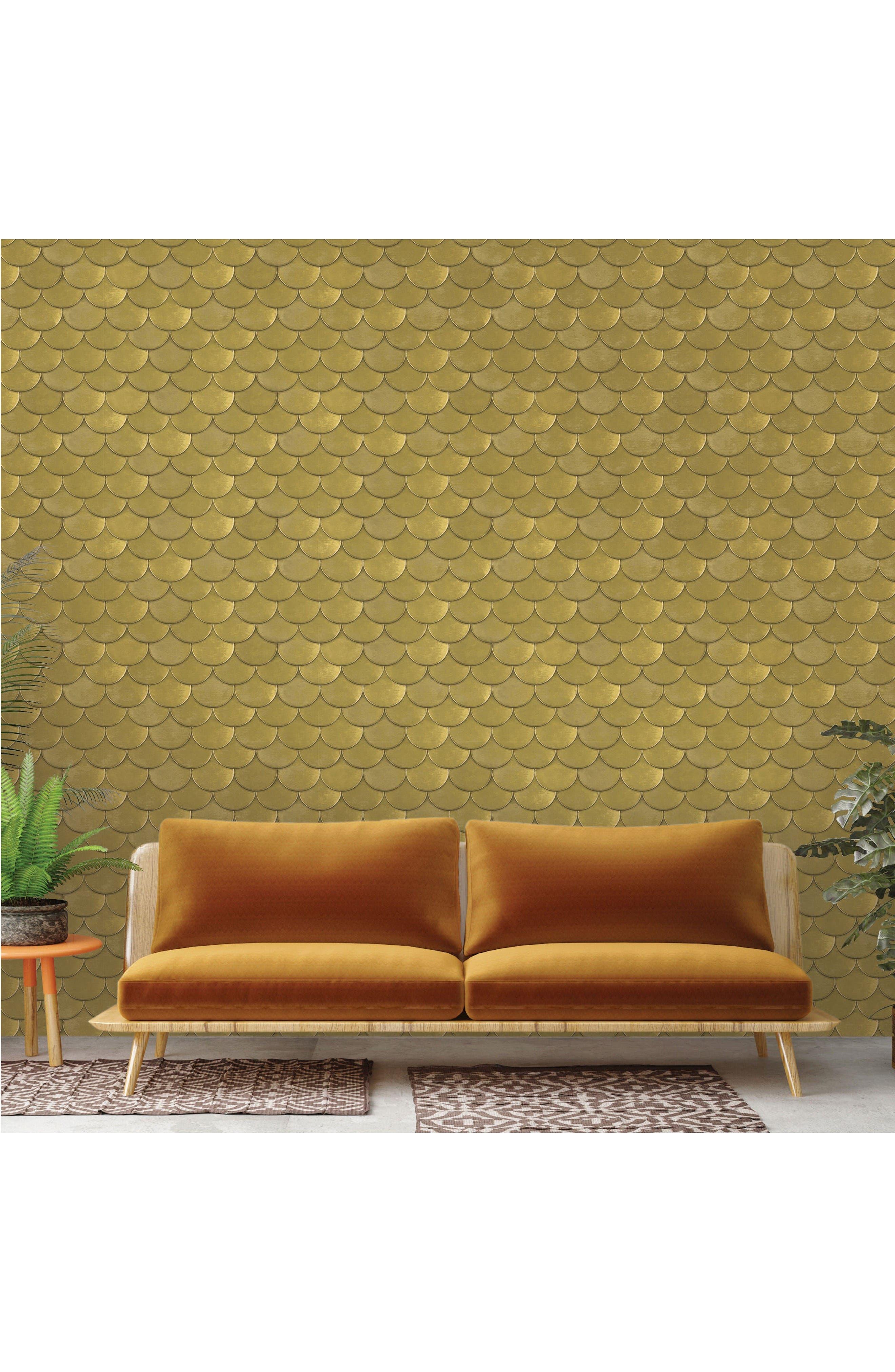 Brass Belly Self-Adhesive Vinyl Wallpaper,                             Alternate thumbnail 2, color,                             Metallic Gold
