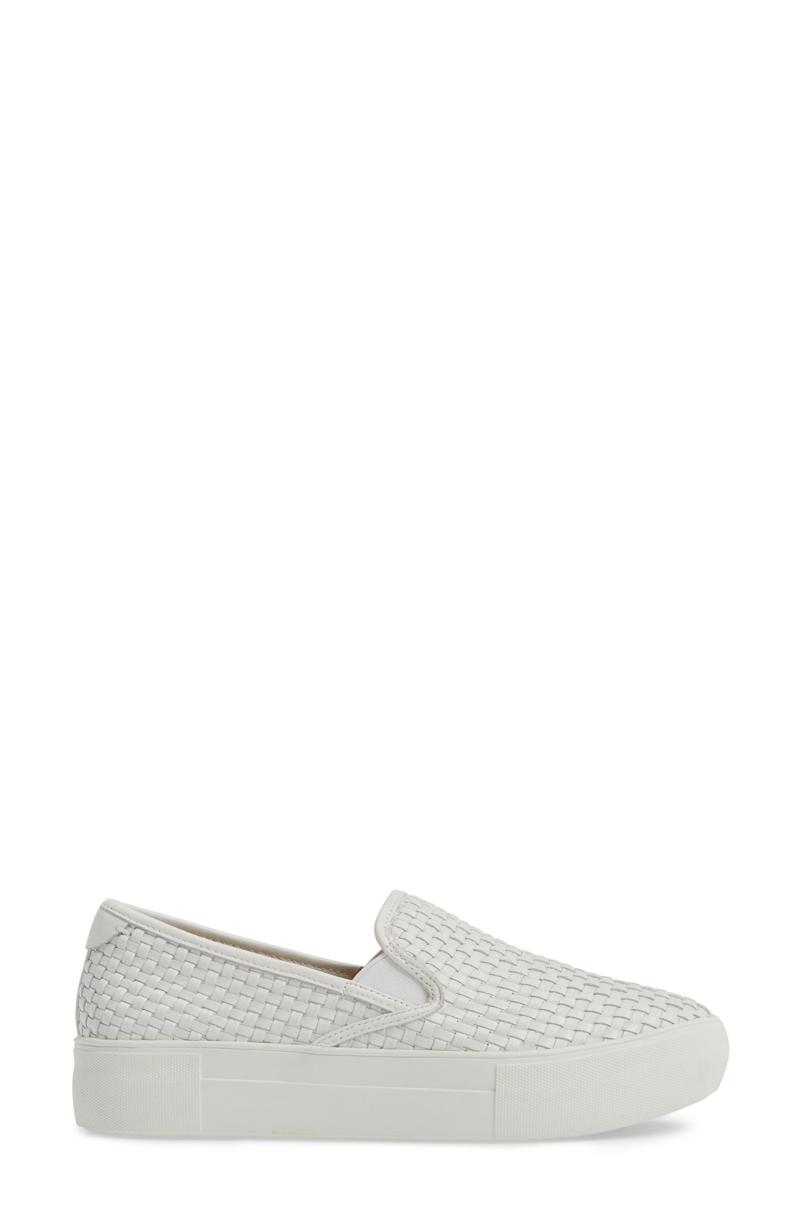 Alyssa Platform Slip-On Sneaker,                             Alternate thumbnail 3, color,                             White Leather